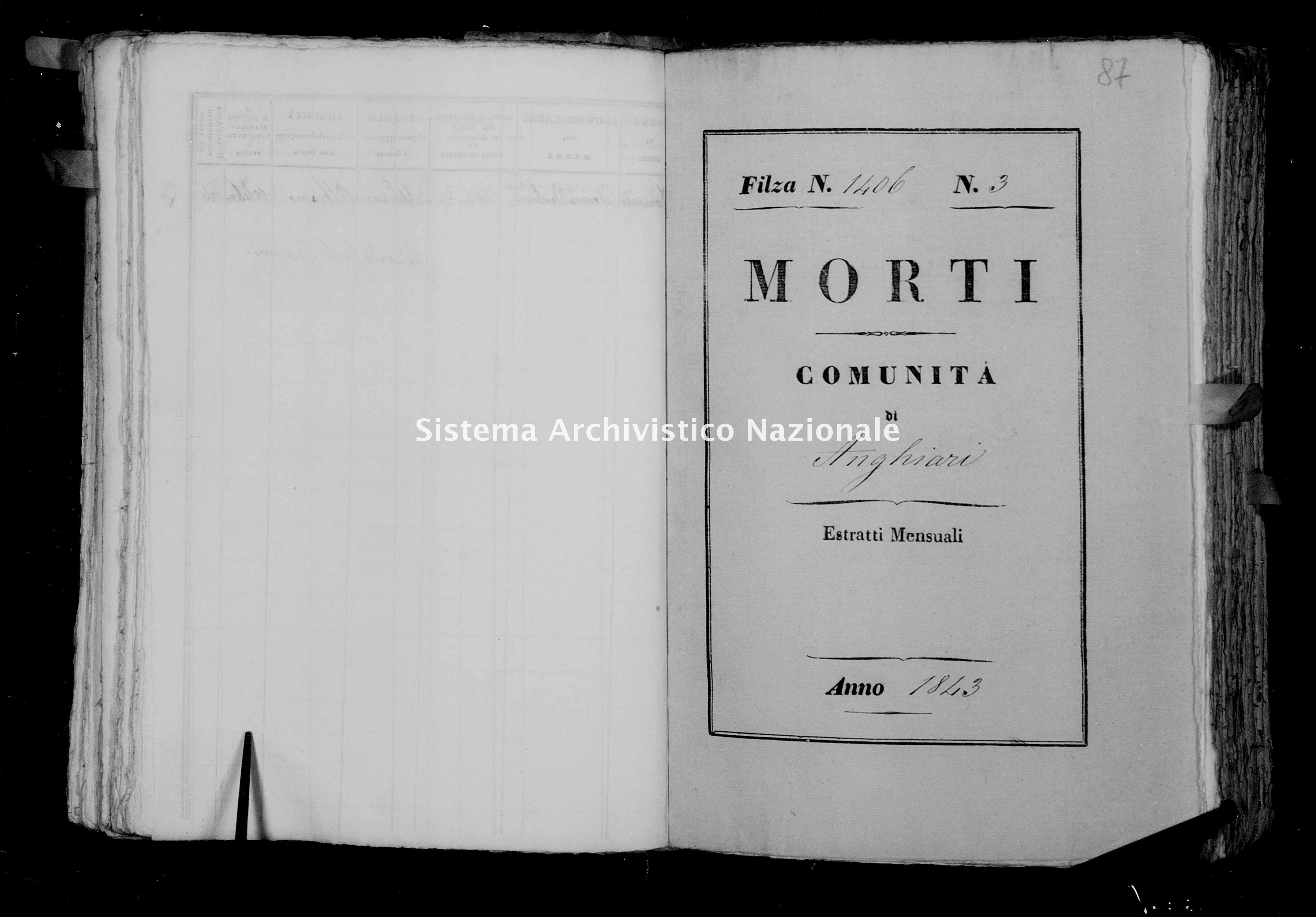 Archivio di stato di Firenze - Stato civile della restaurazione - Anghiari - Morti - 1843 - 1406 -