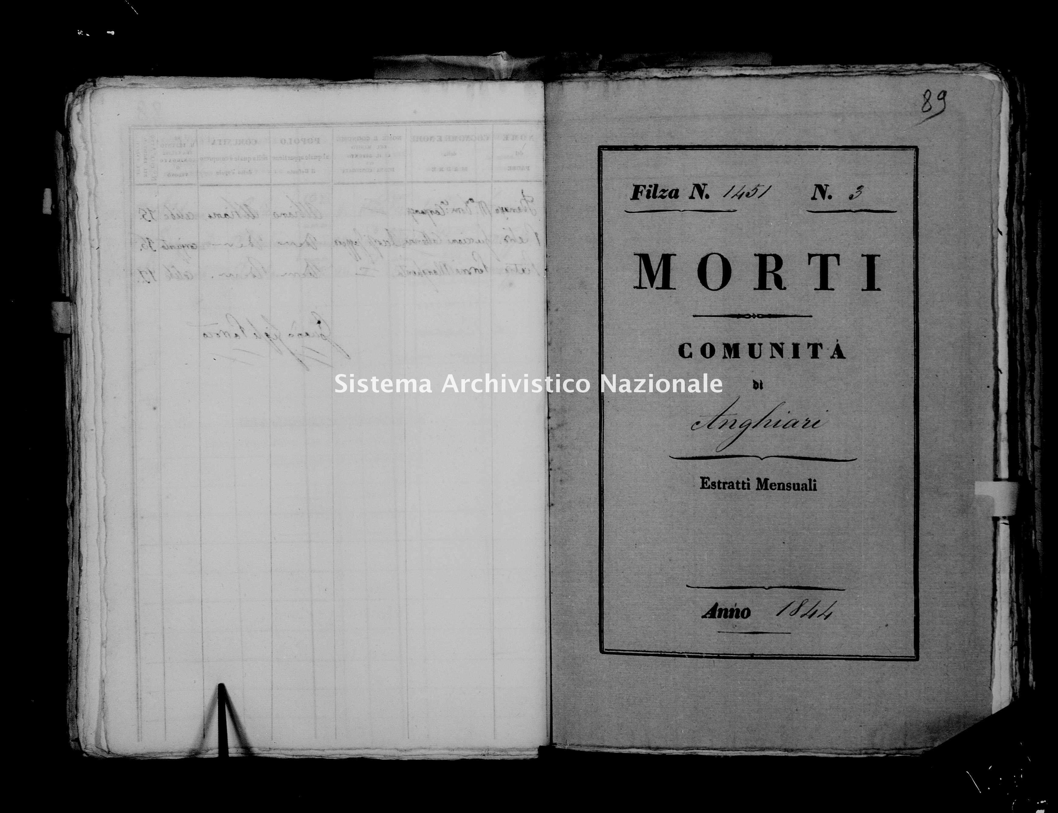 Archivio di stato di Firenze - Stato civile della restaurazione - Anghiari - Morti - 1844 - 1451 -
