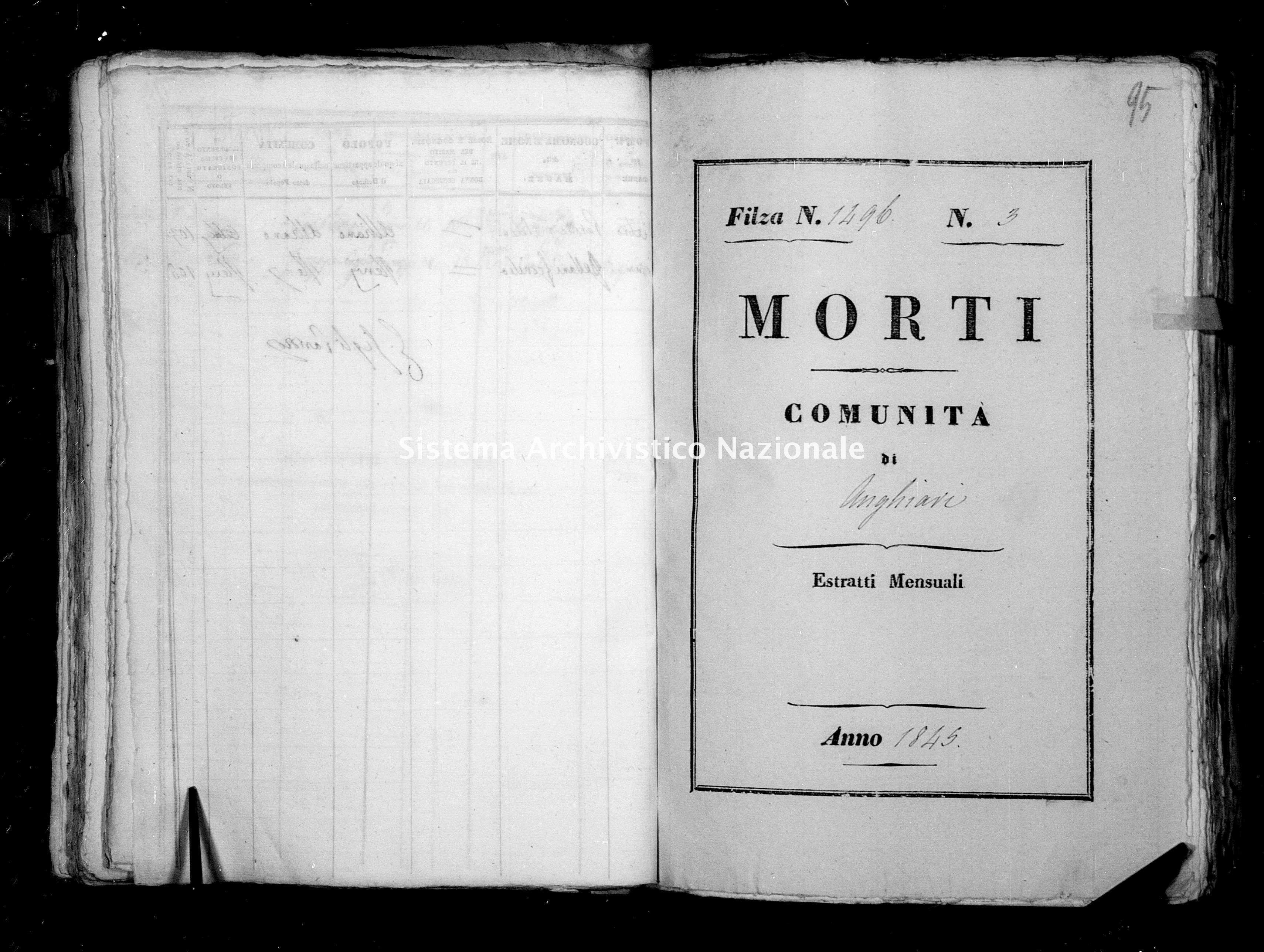 Archivio di stato di Firenze - Stato civile della restaurazione - Anghiari - Morti - 1845 - 1496 -