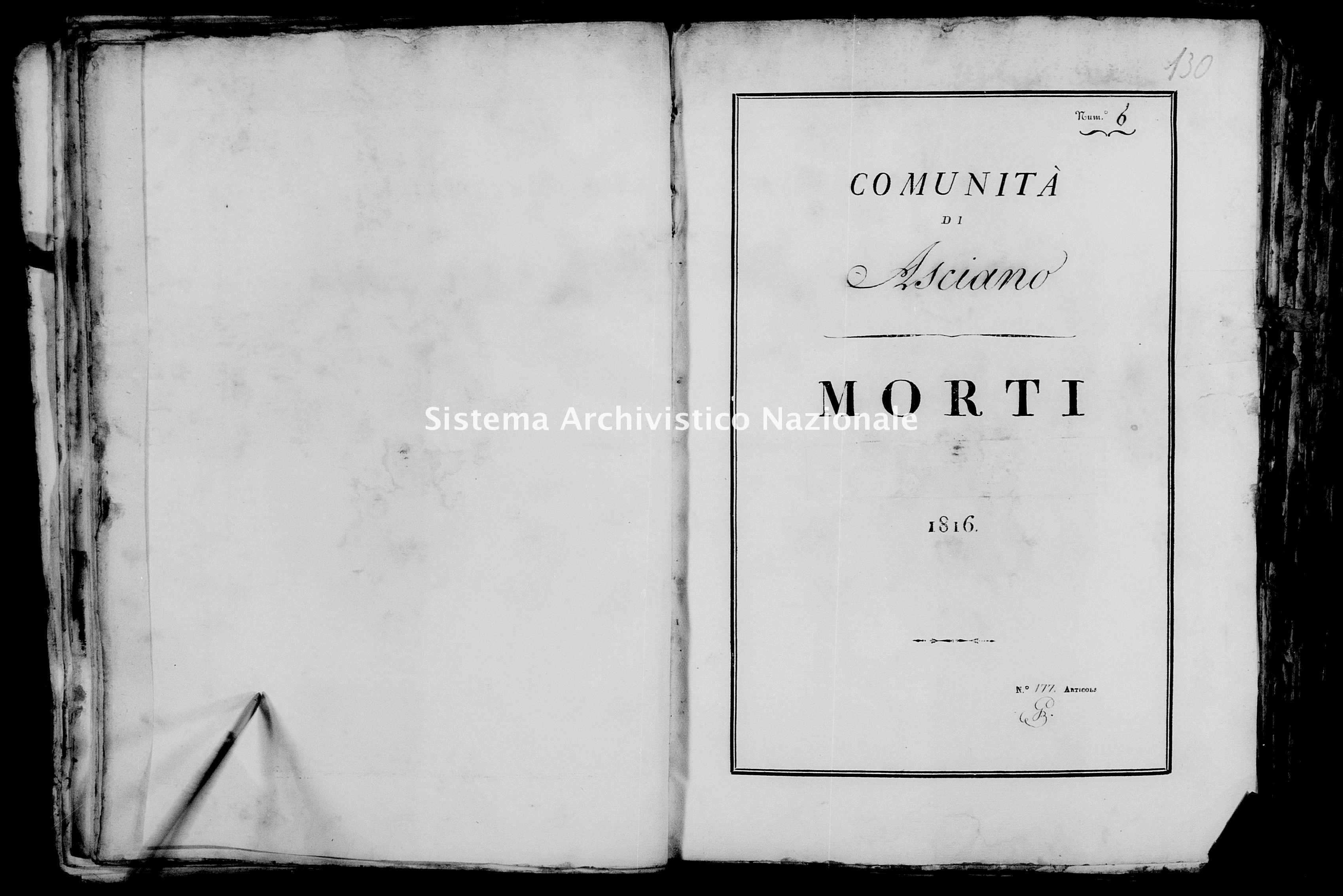 Archivio di stato di Firenze - Stato civile della restaurazione - Asciano - Morti - 1816 - 35 -