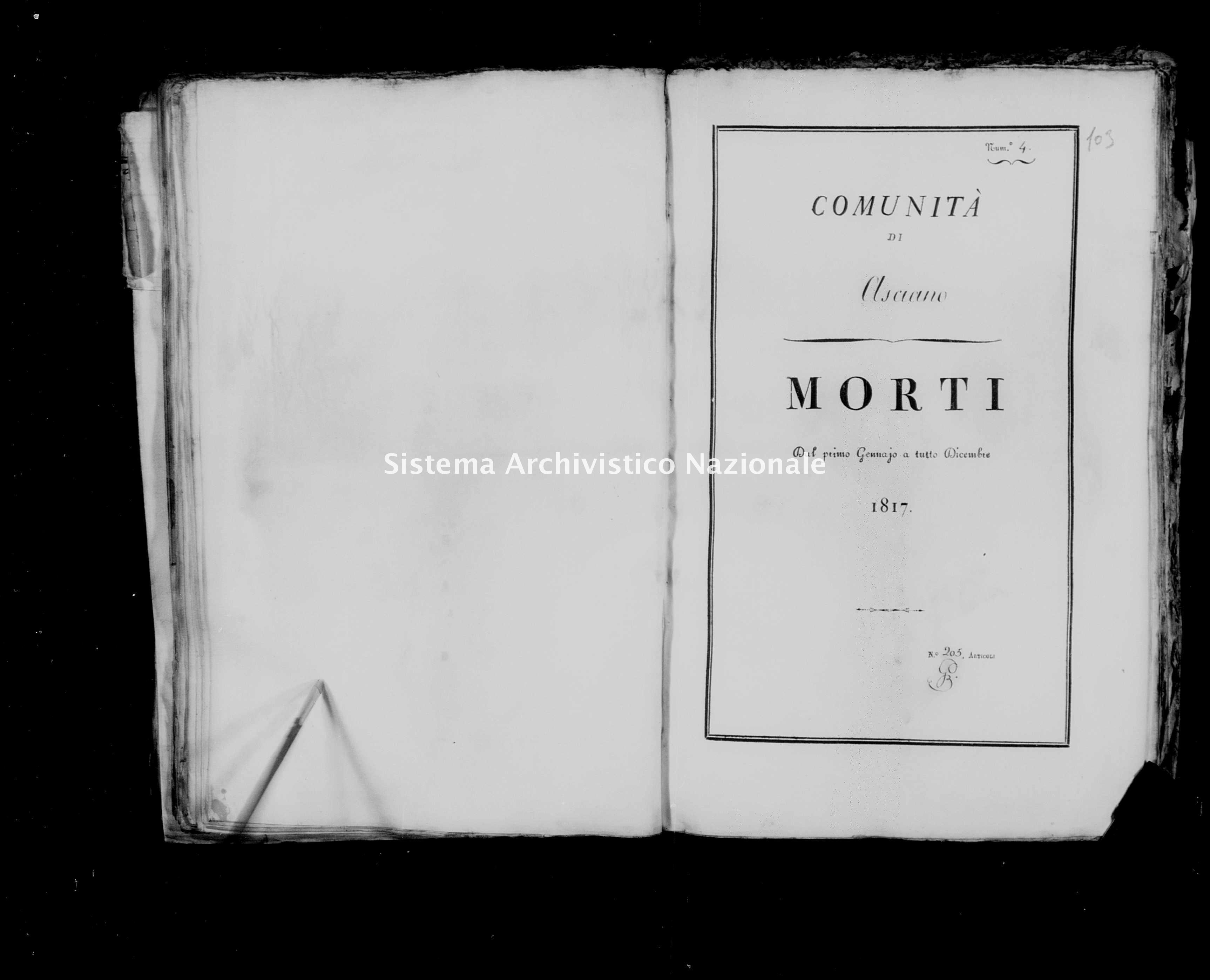 Archivio di stato di Firenze - Stato civile della restaurazione - Asciano - Morti - 1817 - 46 -