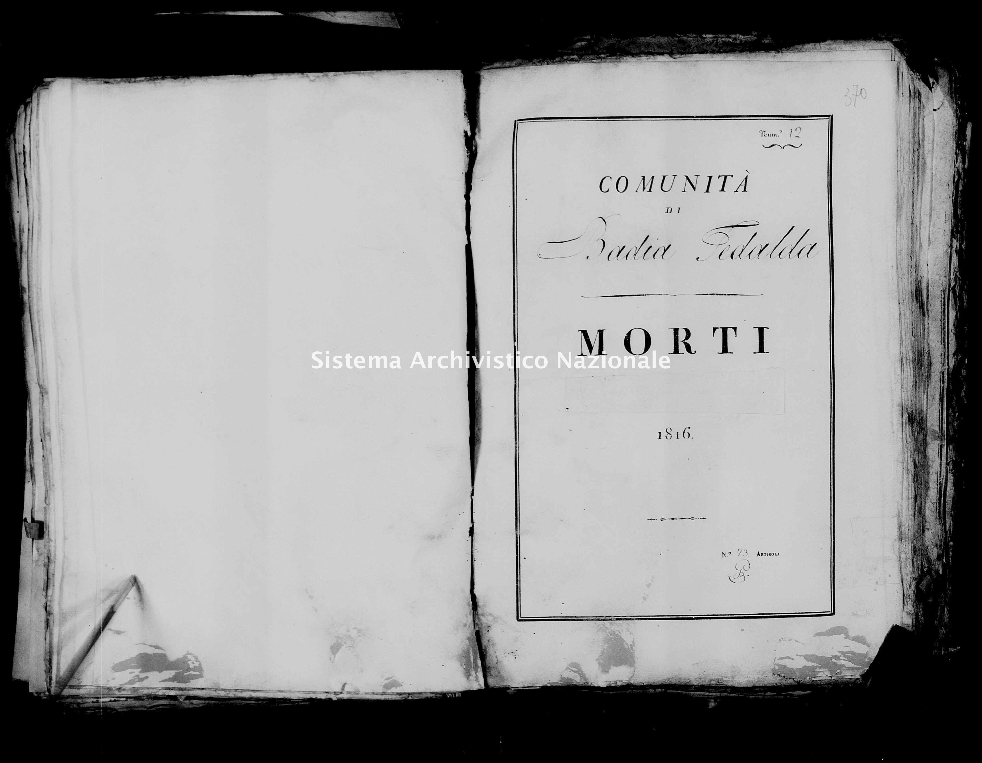Archivio di stato di Firenze - Stato civile della restaurazione - Badia Tedalda - Morti - 1816 - 22 -