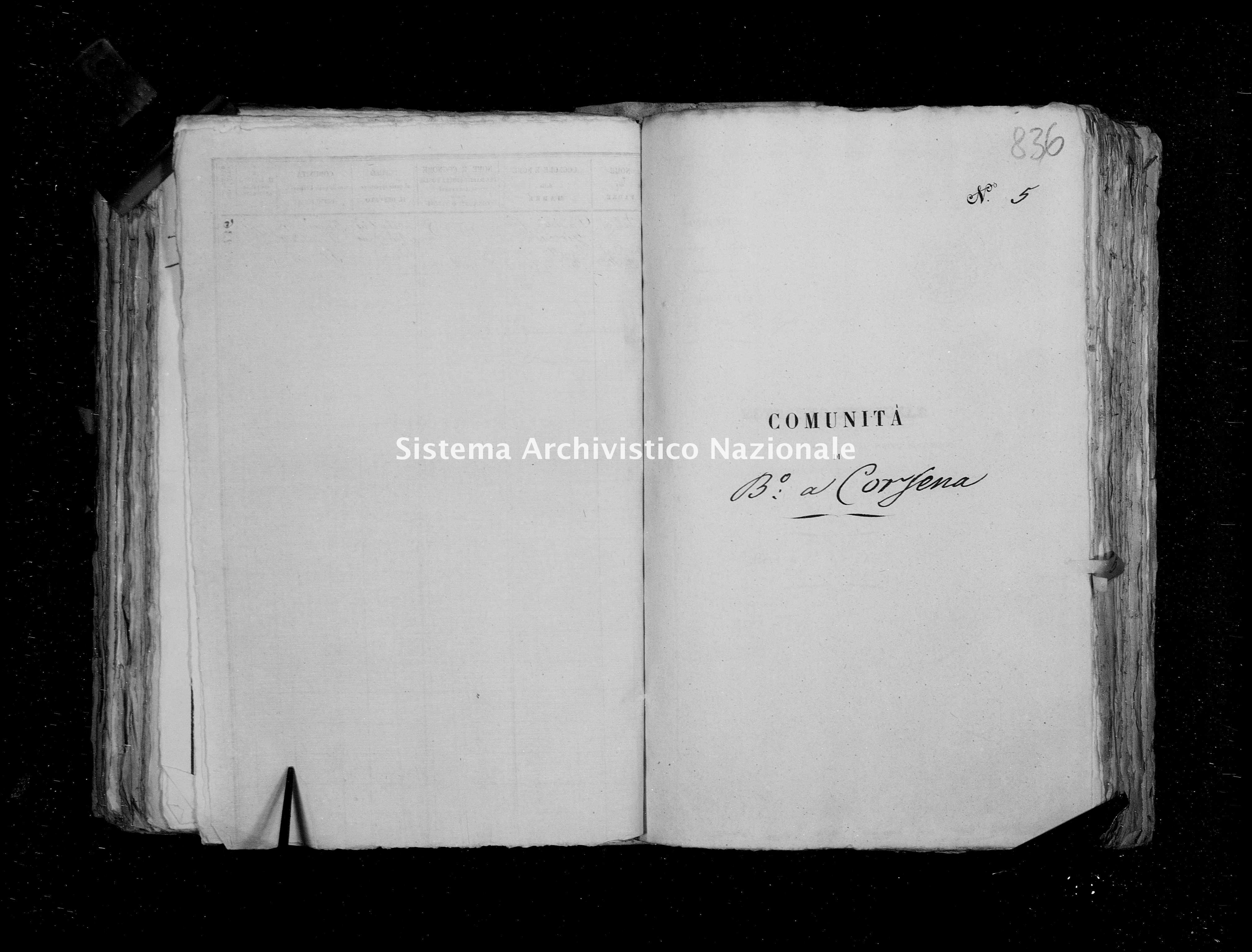 Archivio di stato di Firenze - Stato civile della restaurazione - Bagni a Corsena - Morti - 1853 - 1858 -
