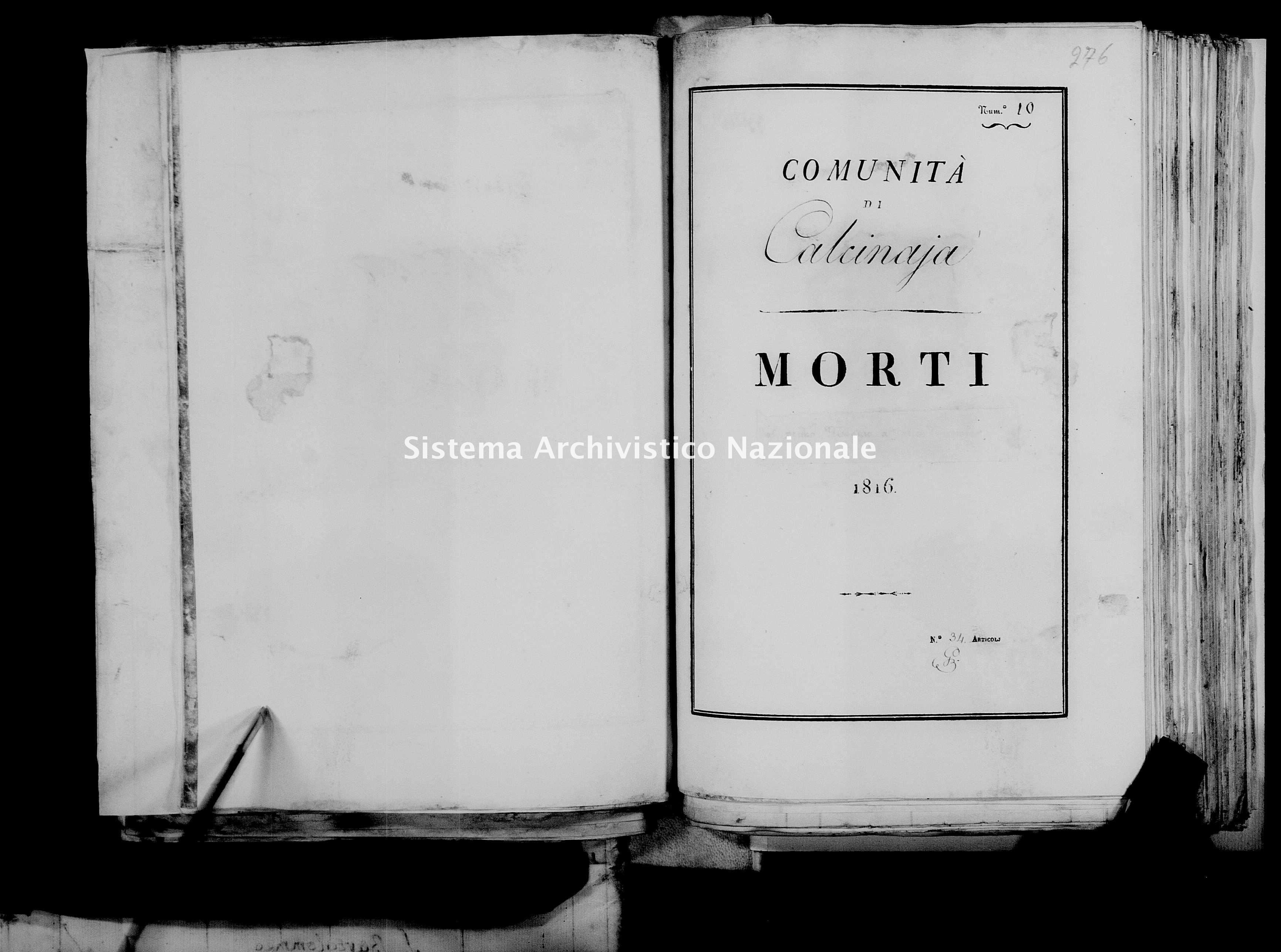 Archivio di stato di Firenze - Stato civile di Toscana (1808-1865) - Calcinaia - Morti - 1816 - 26 -