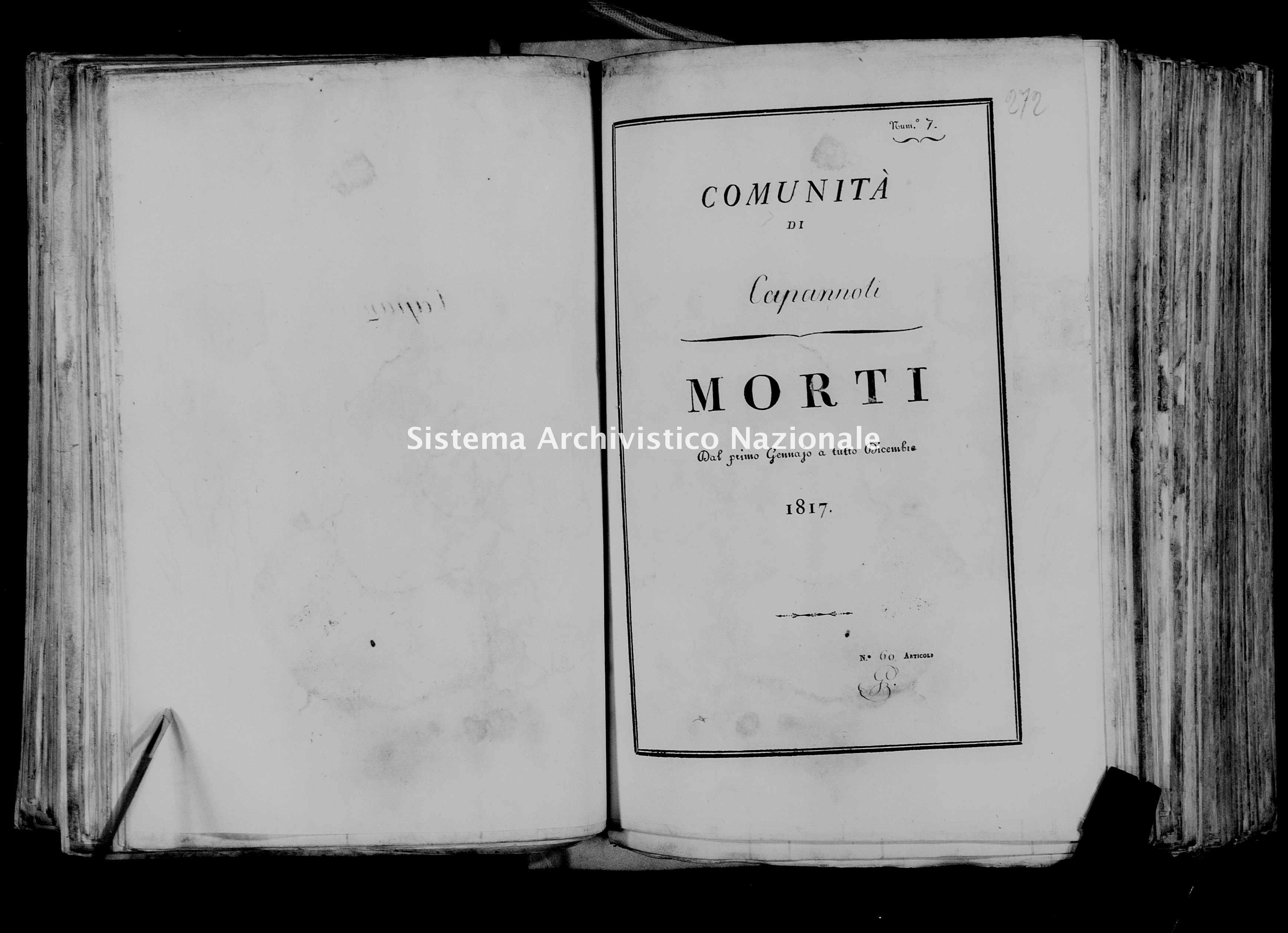 Archivio di stato di Firenze - Stato civile di Toscana (1808-1865) - Capannoli - Morti - 1817 - 50 -