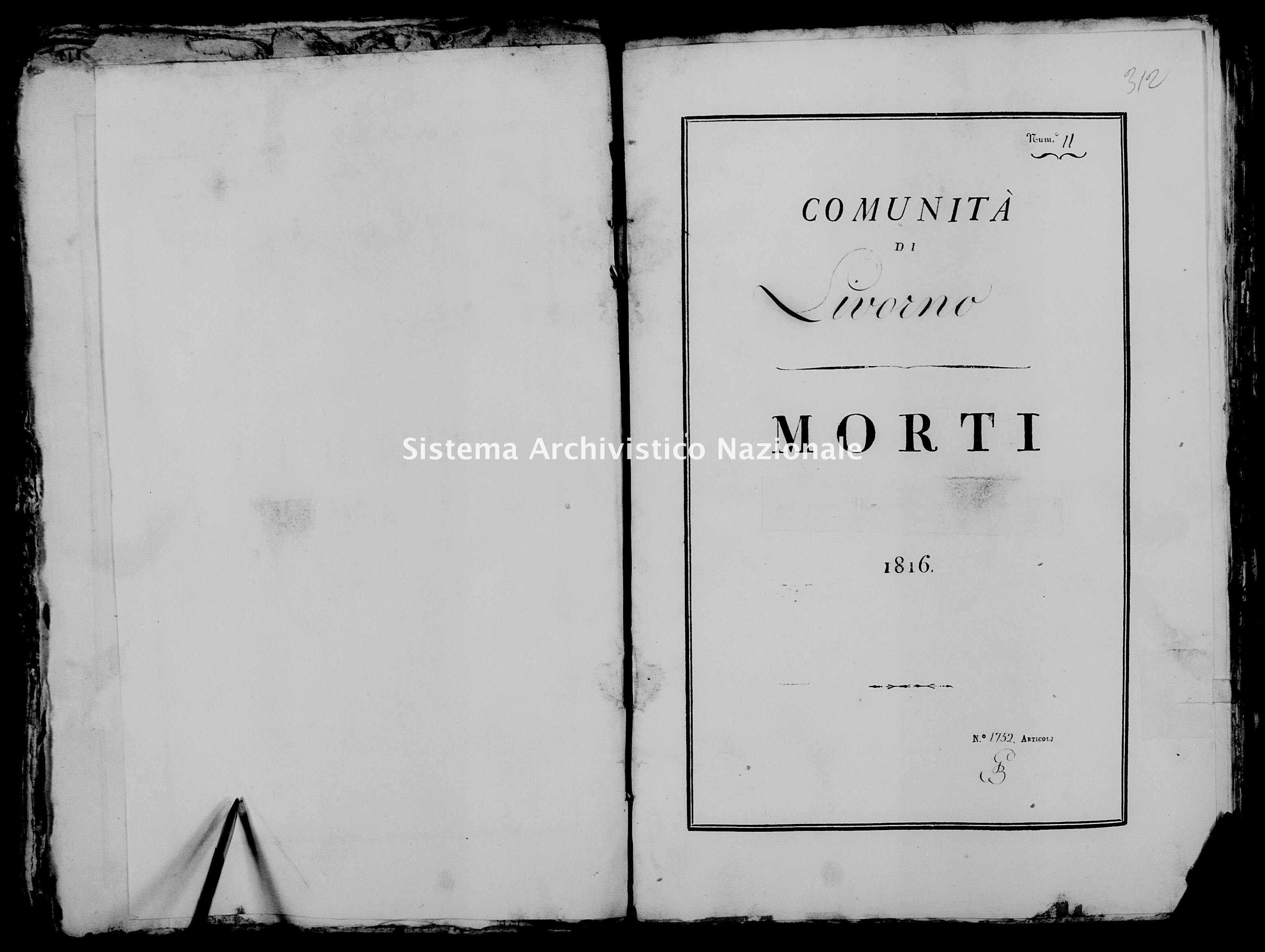 Archivio di stato di Firenze - Stato civile di Toscana (1808-1865) - Livorno - Morti - 1816 - 27 -