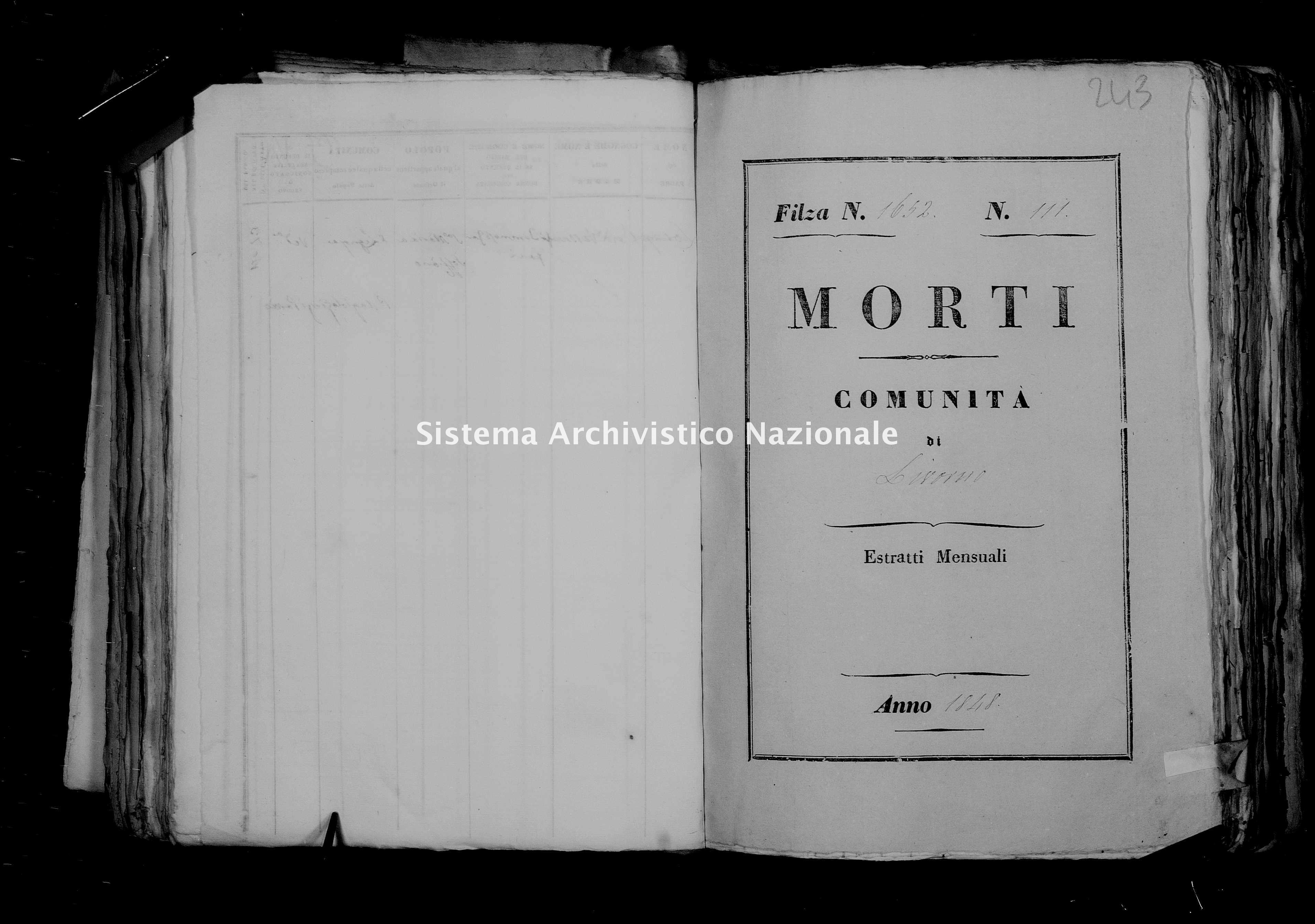 Archivio di stato di Firenze - Stato civile di Toscana (1808-1865) - Livorno - Morti - 1848 - 1652 -