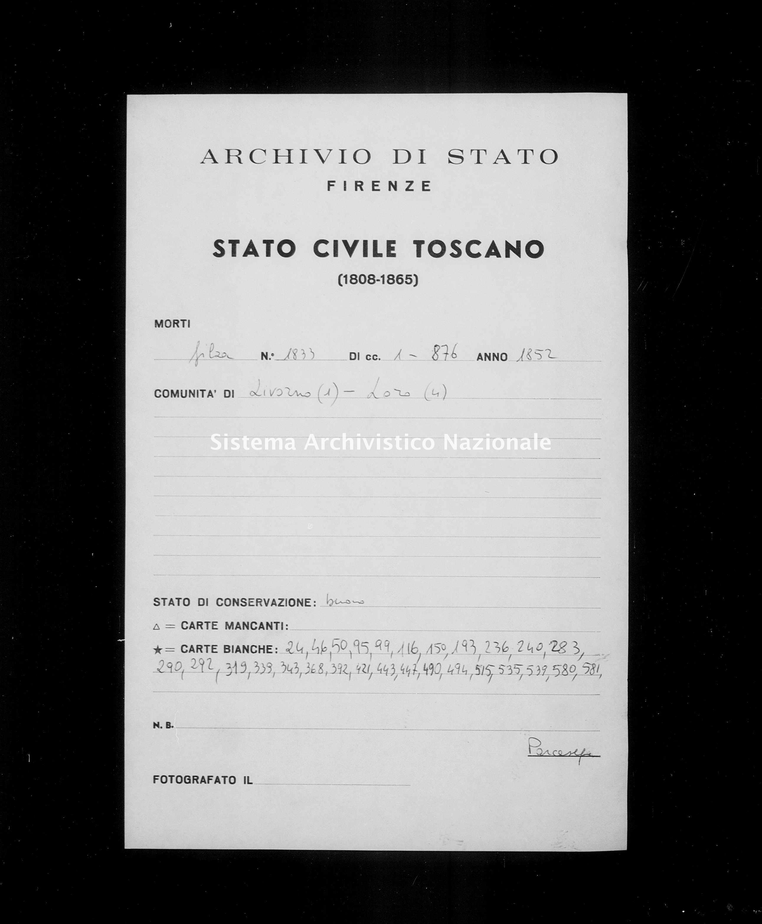 Archivio di stato di Firenze - Stato civile di Toscana (1808-1865) - Livorno - Morti - 1852 - 1833 -