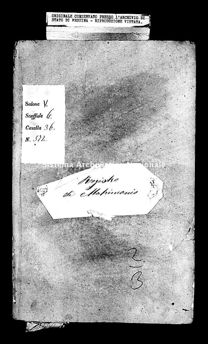 Archivio di stato di Messina - Stato civile della restaurazione - Mili Inferiore - Matrimoni - 1852 - 245 -