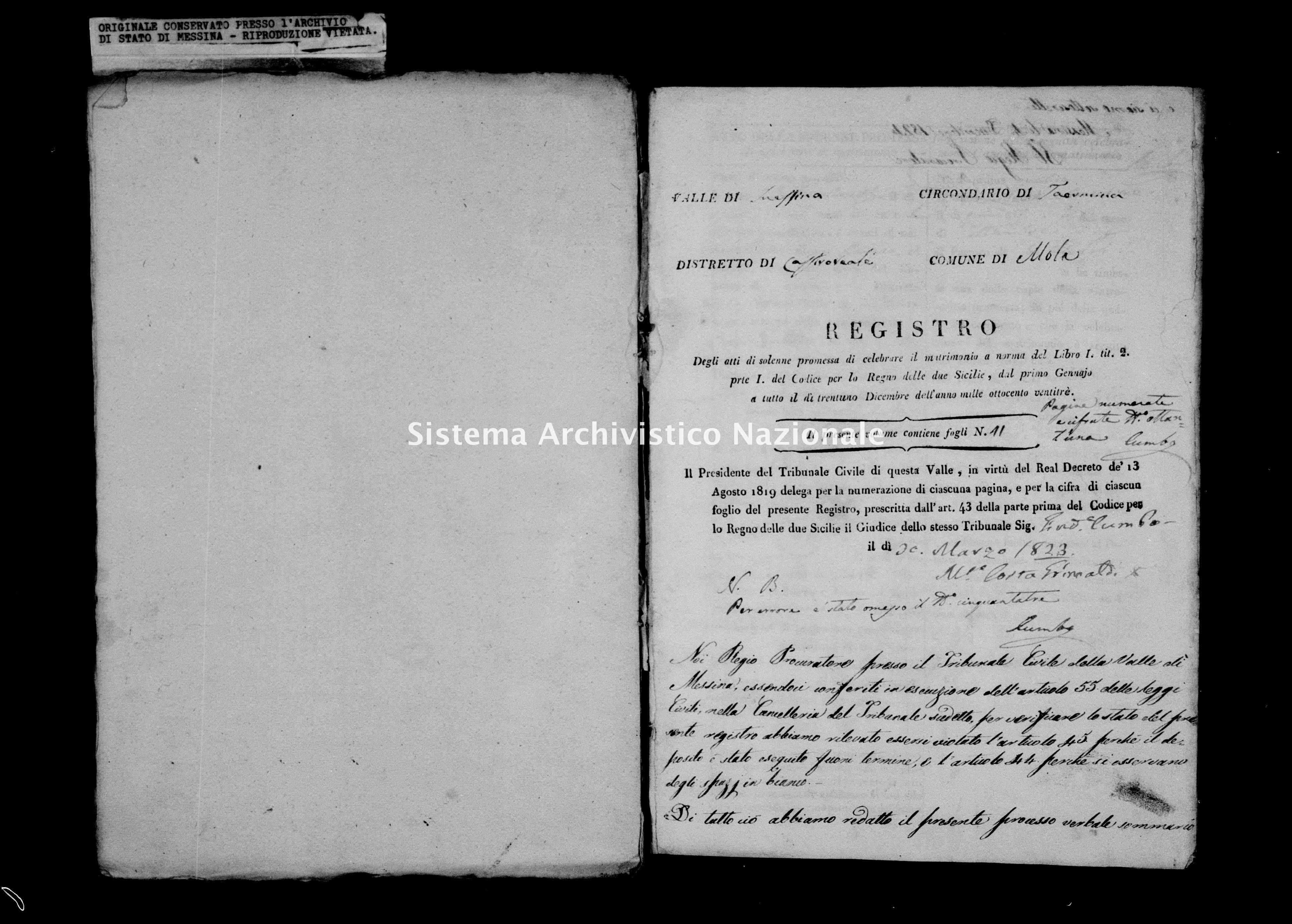 Archivio di stato di Messina - Stato civile della restaurazione - Mola - Matrimoni - 10/09/1823-13/11/1823 - 840 -