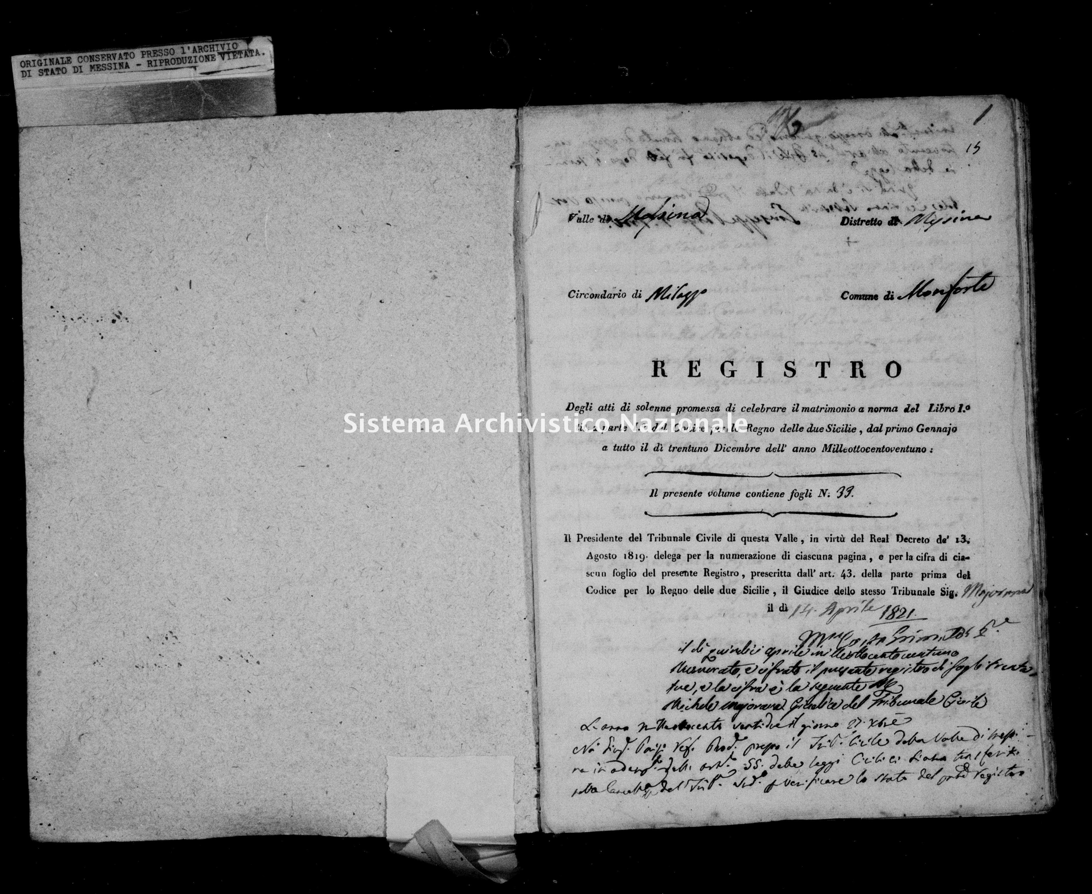 Archivio di stato di Messina - Stato civile della restaurazione - Monforte - Matrimoni - 05/05/1821-25/06/1821 - 847 -