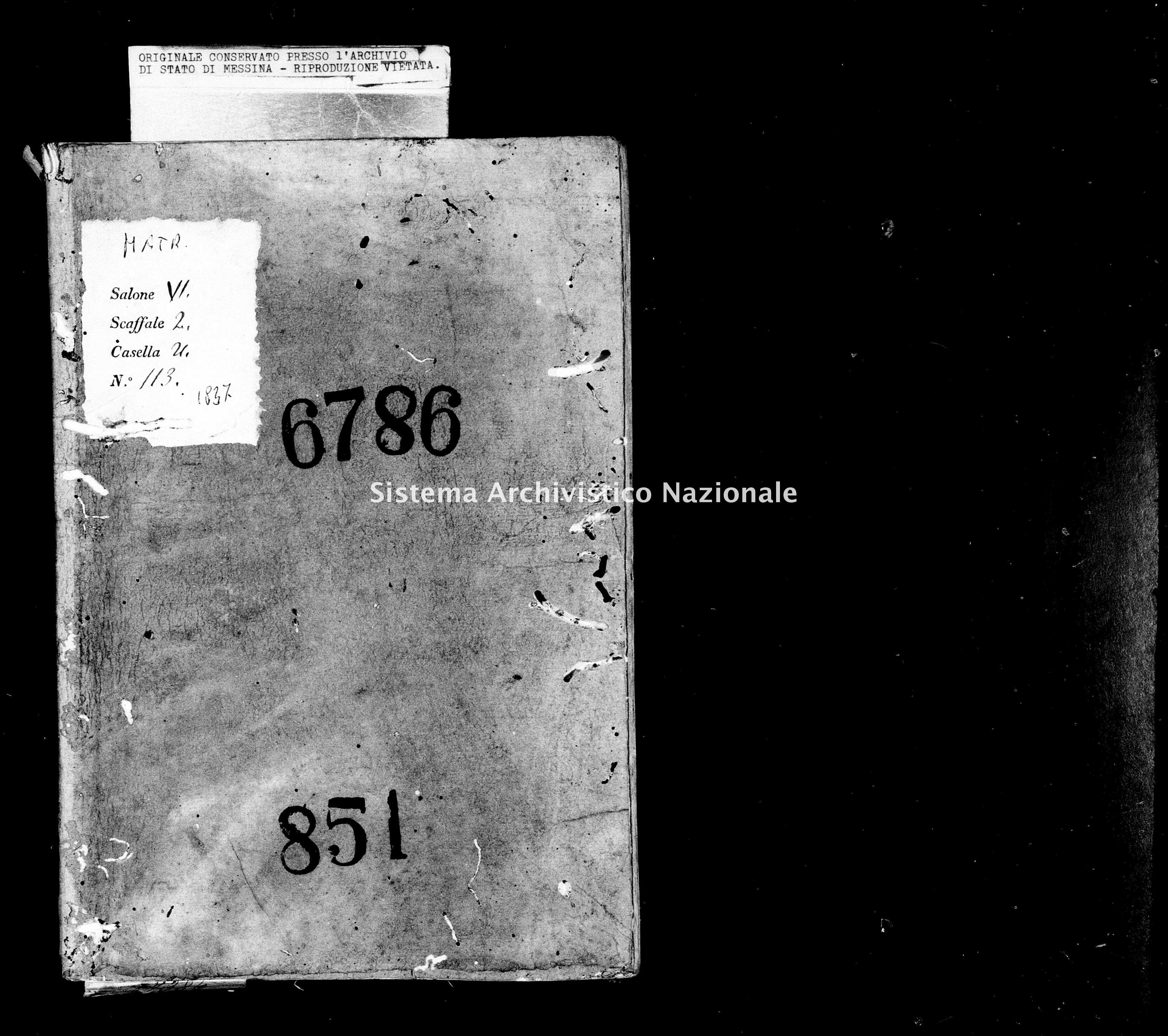Archivio di stato di Messina - Stato civile della restaurazione - Monforte - Matrimoni - 1837 - 851 -