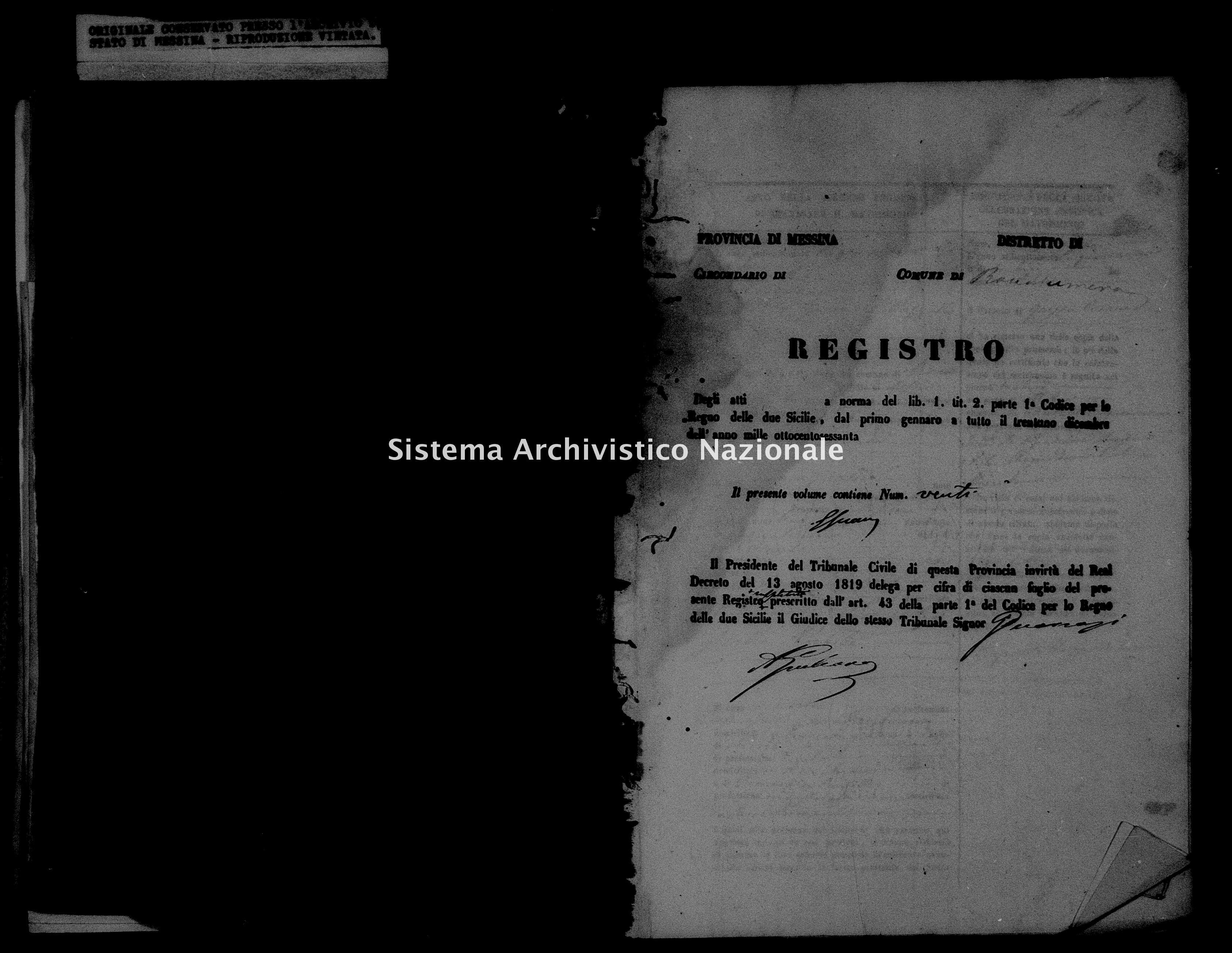 Archivio di stato di Messina - Stato civile della restaurazione - Roccalumera - Matrimoni - 06/10/1859-31/12/1859 - 1110 -