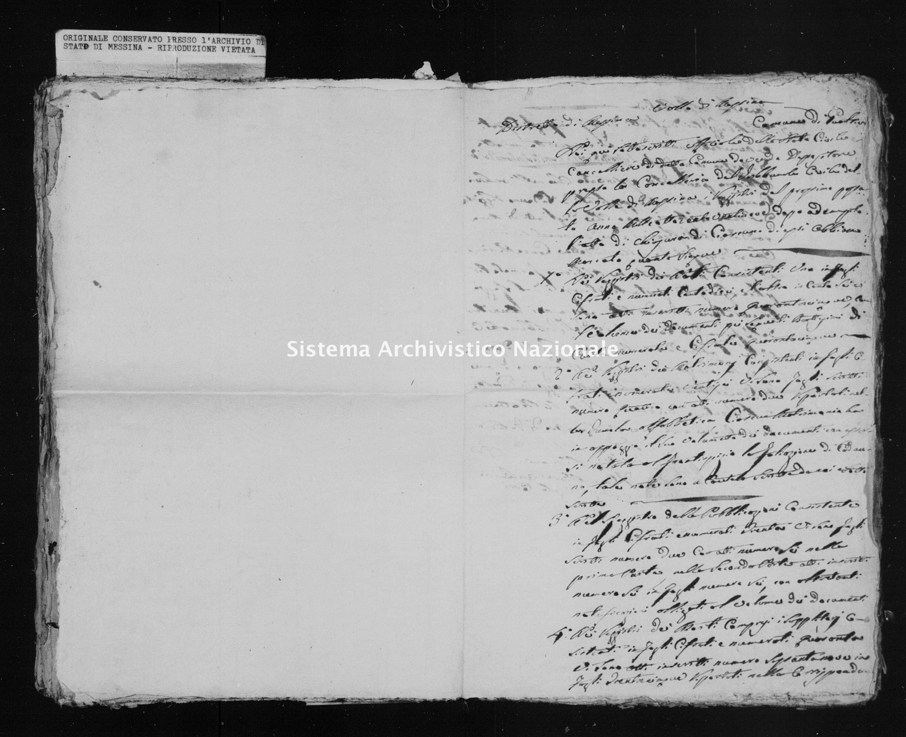 Archivio di stato di Messina - Stato civile della restaurazione - Gualtieri Sicaminò - Inventario - 1829 - 504 -