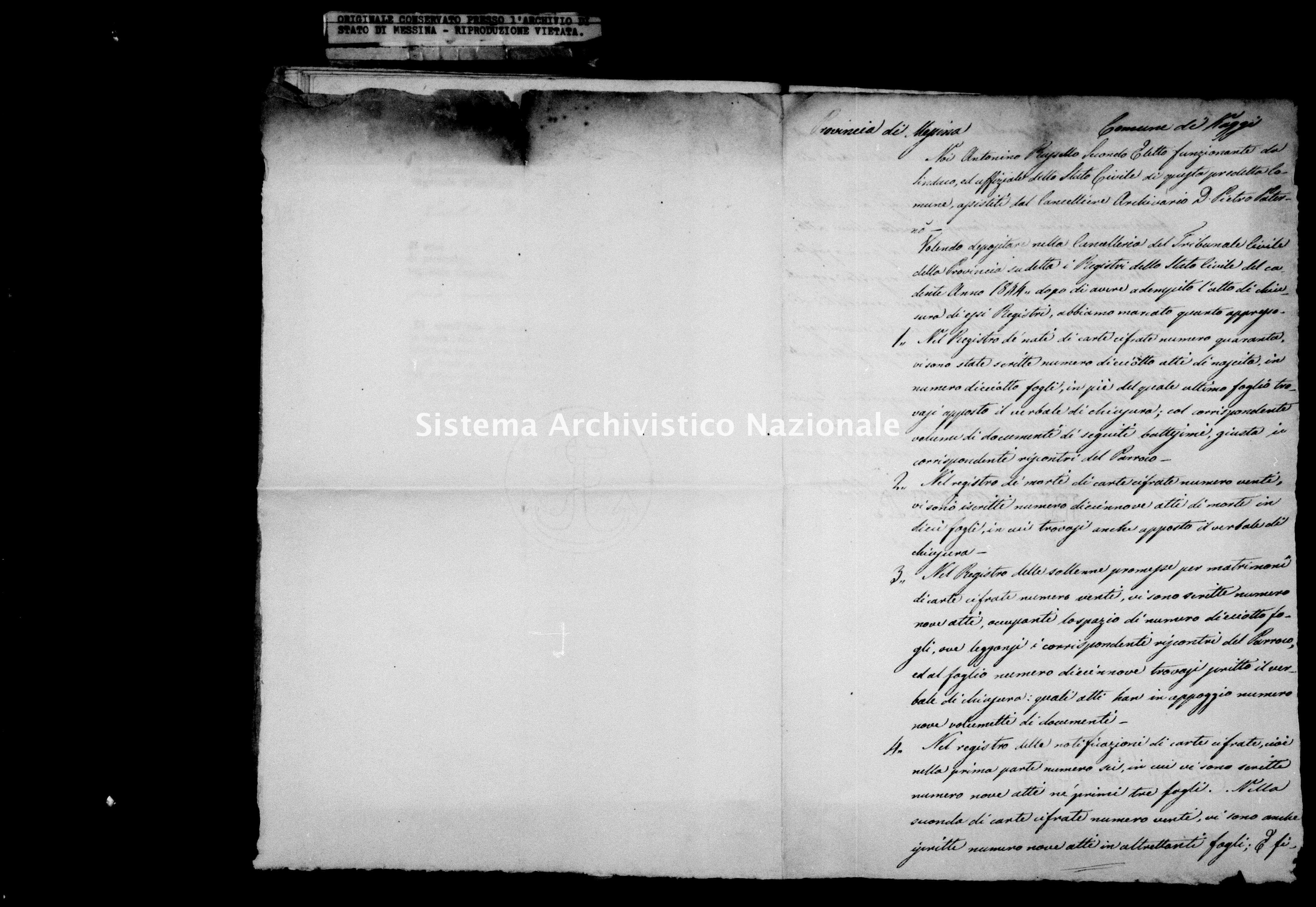 Archivio di stato di Messina - Stato civile della restaurazione - Kaggi - Inventario - 1844 - 434 -