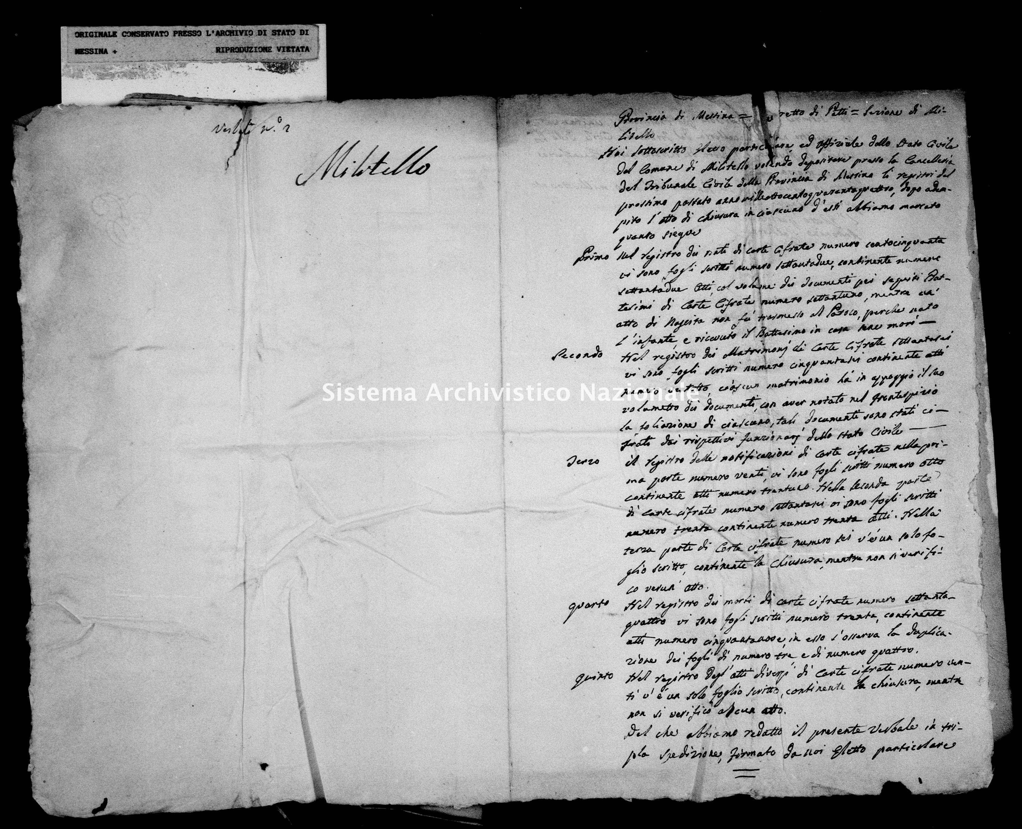 Archivio di stato di Messina - Stato civile della restaurazione - Militello - Diversi - 1844 - 740 -