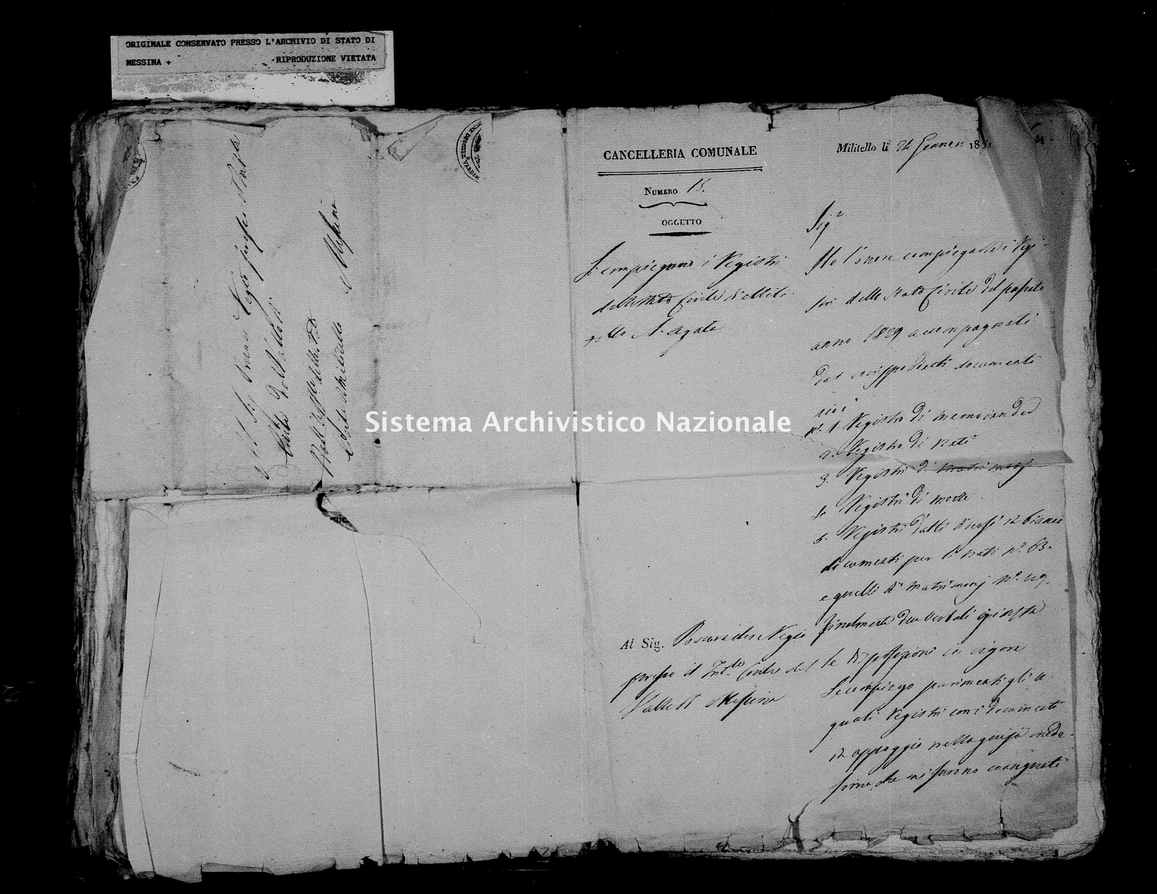 Archivio di stato di Messina - Stato civile della restaurazione - Militello - Inventario - 1829 - 736 -