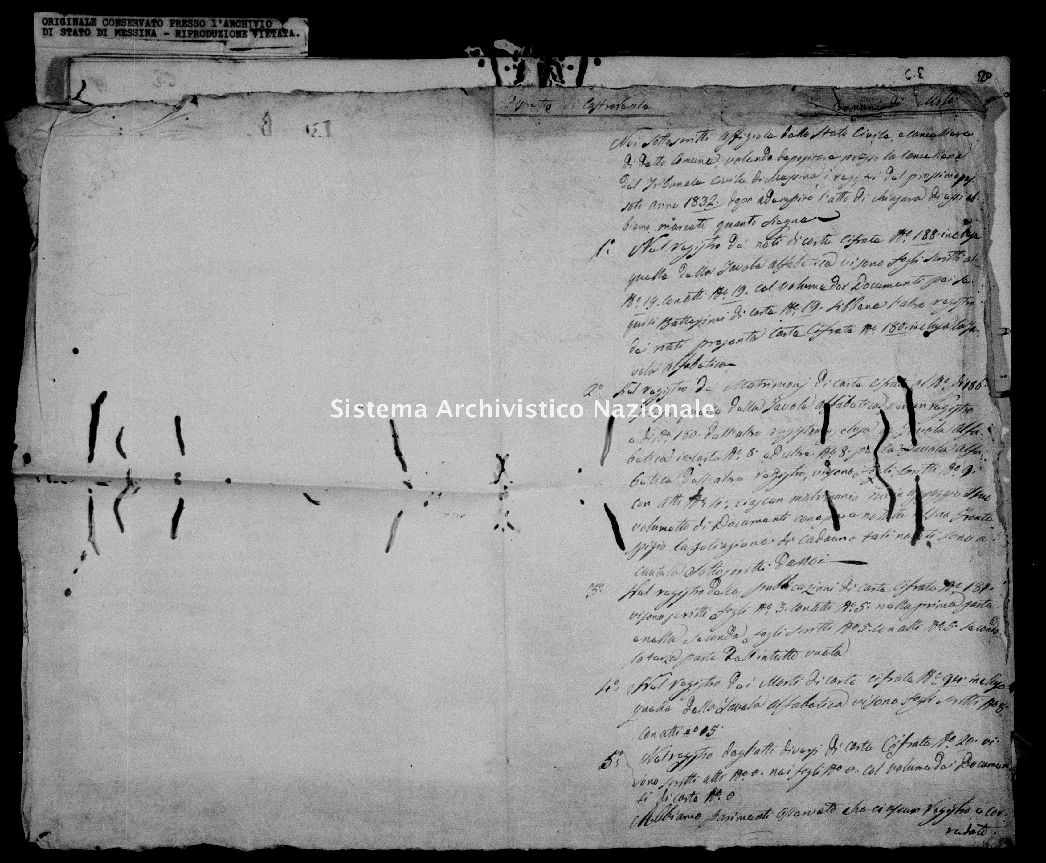 Archivio di stato di Messina - Stato civile della restaurazione - Mola - Inventario - 1832 - 842 -