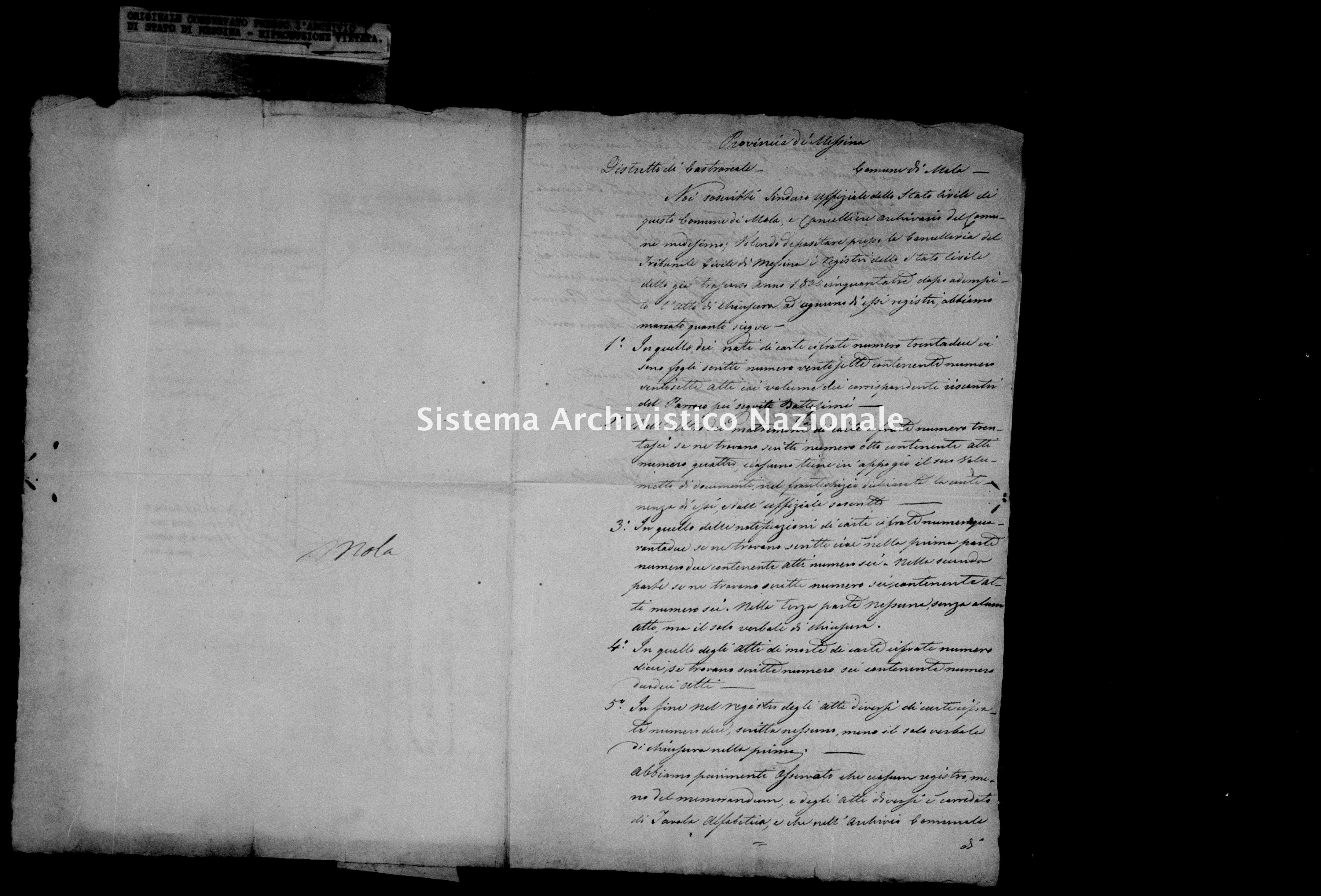 Archivio di stato di Messina - Stato civile della restaurazione - Mola - Inventario - 1853 - 845 -