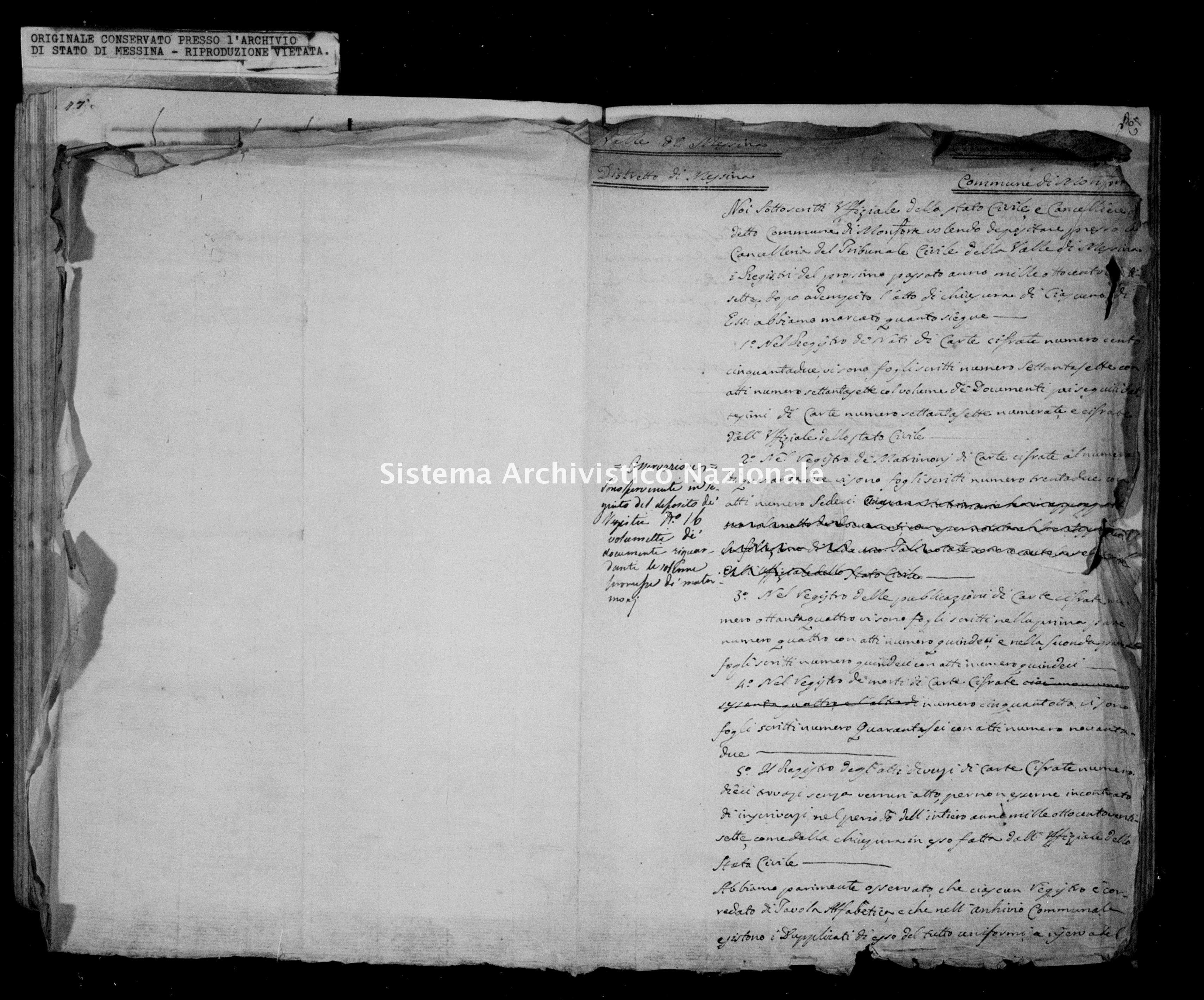 Archivio di stato di Messina - Stato civile della restaurazione - Monforte - Inventario - 1827 - 849 -