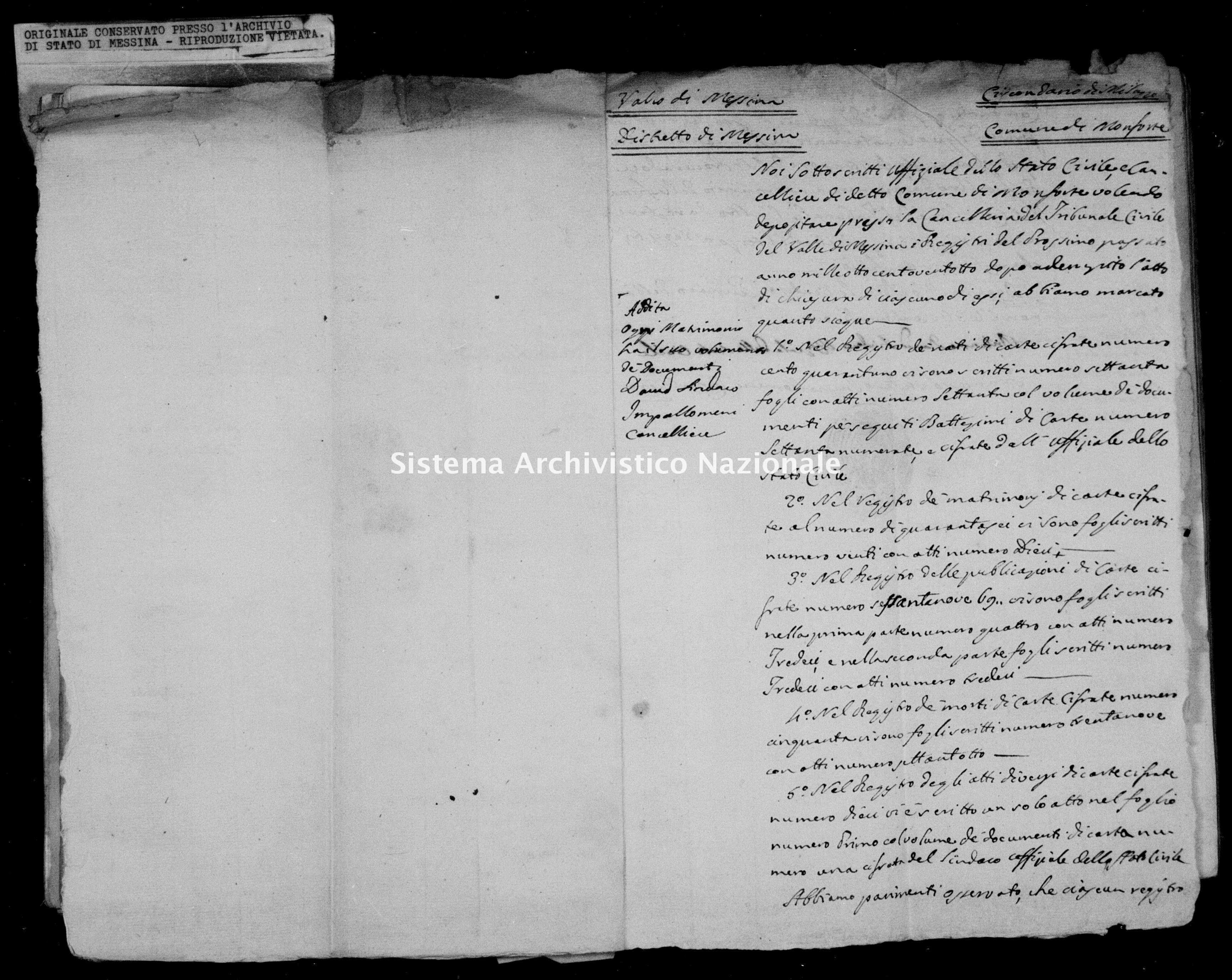 Archivio di stato di Messina - Stato civile della restaurazione - Monforte - Inventario - 1828 - 849 -