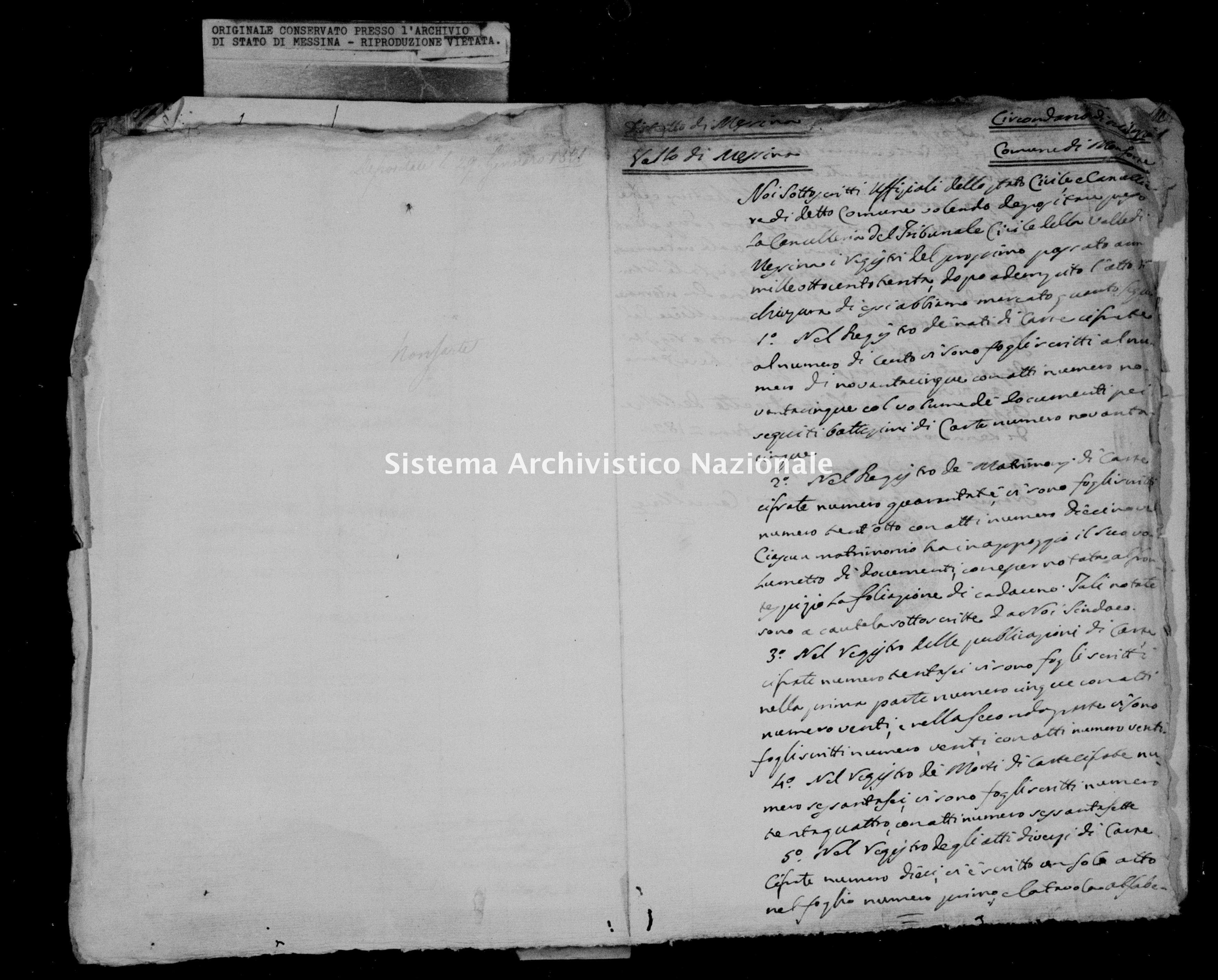 Archivio di stato di Messina - Stato civile della restaurazione - Monforte - Inventario - 1830 - 849 -