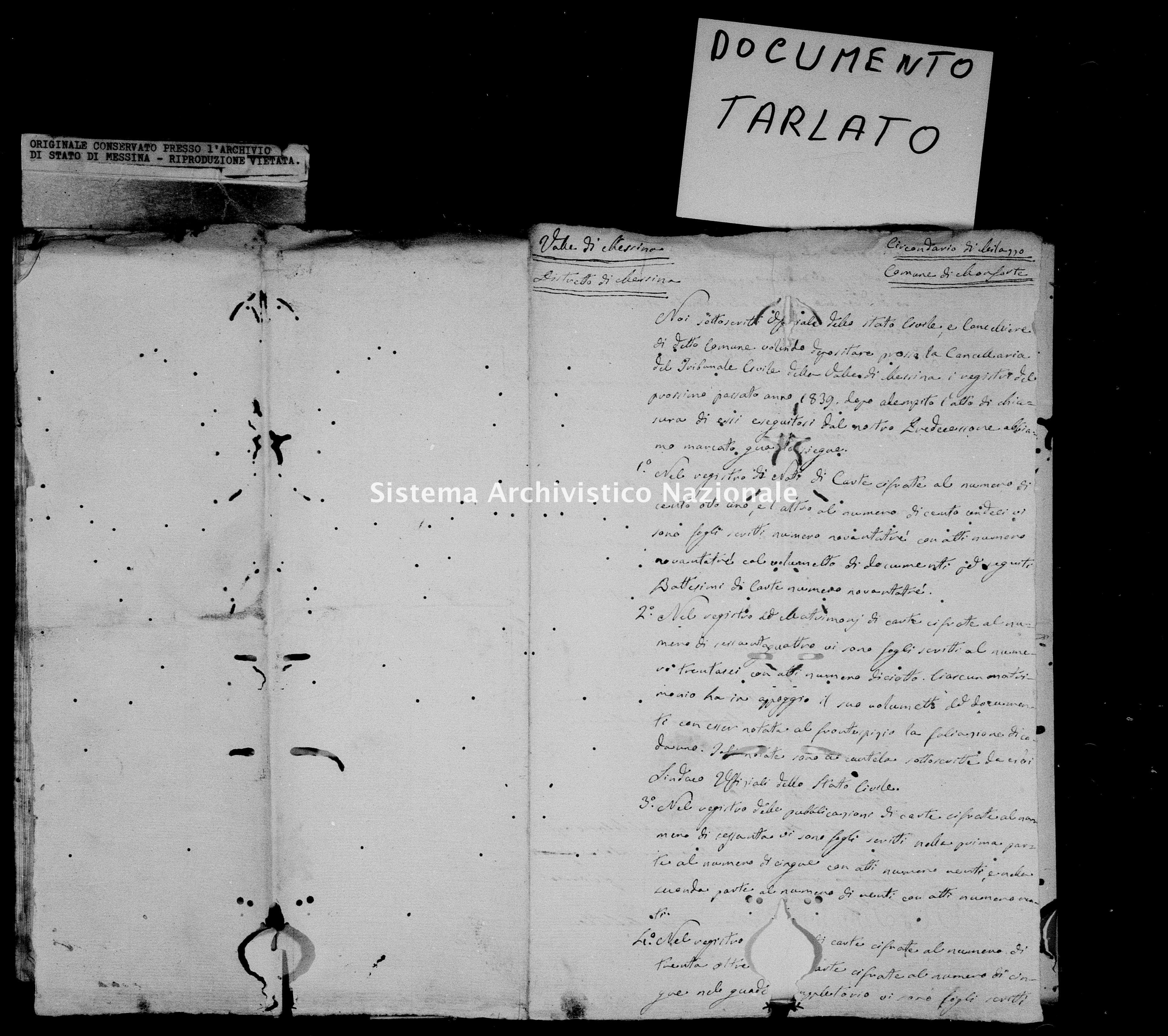 Archivio di stato di Messina - Stato civile della restaurazione - Monforte - Inventario - 1839 - 852 -
