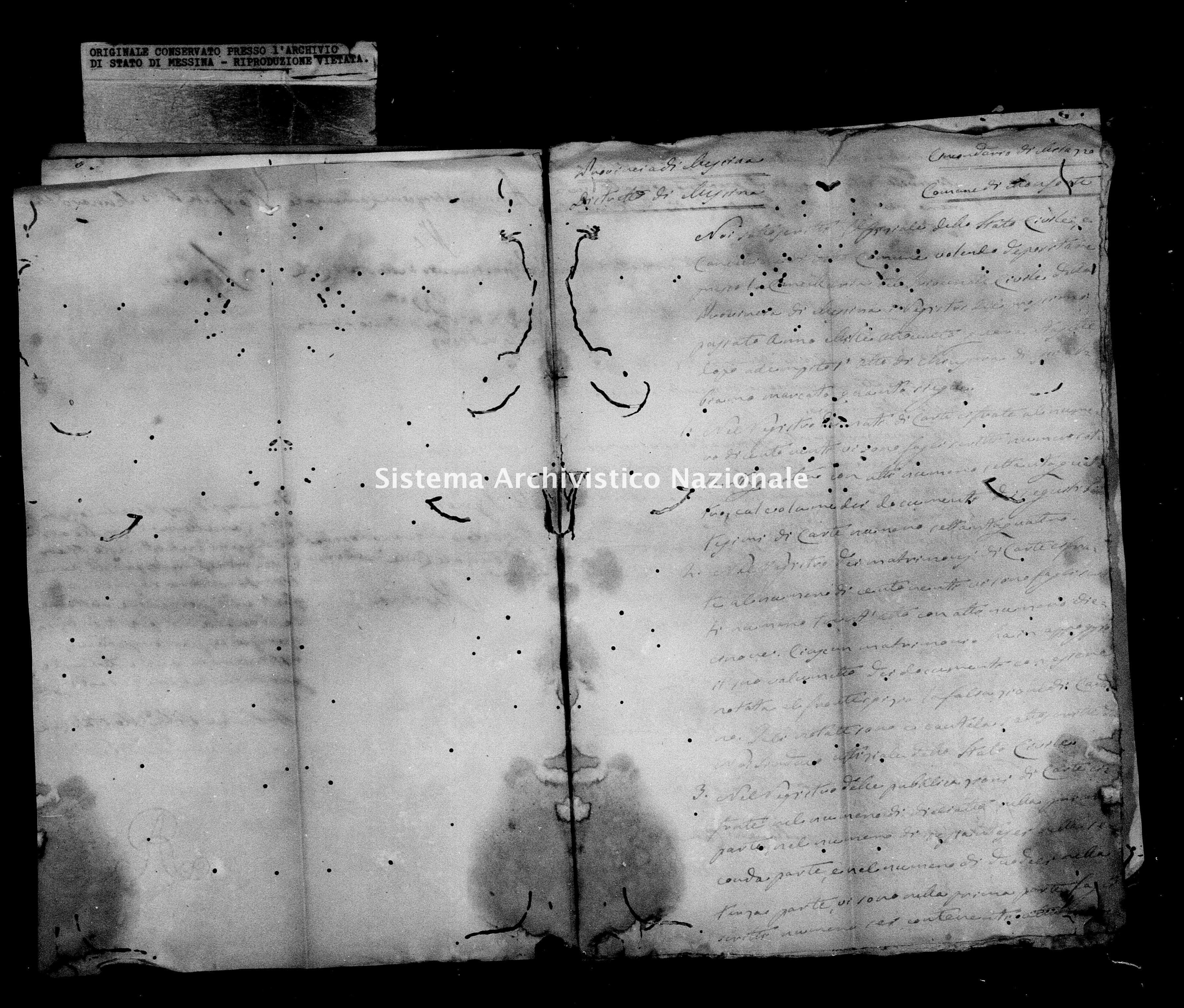 Archivio di stato di Messina - Stato civile della restaurazione - Monforte - Inventario - 1847 - 854 -