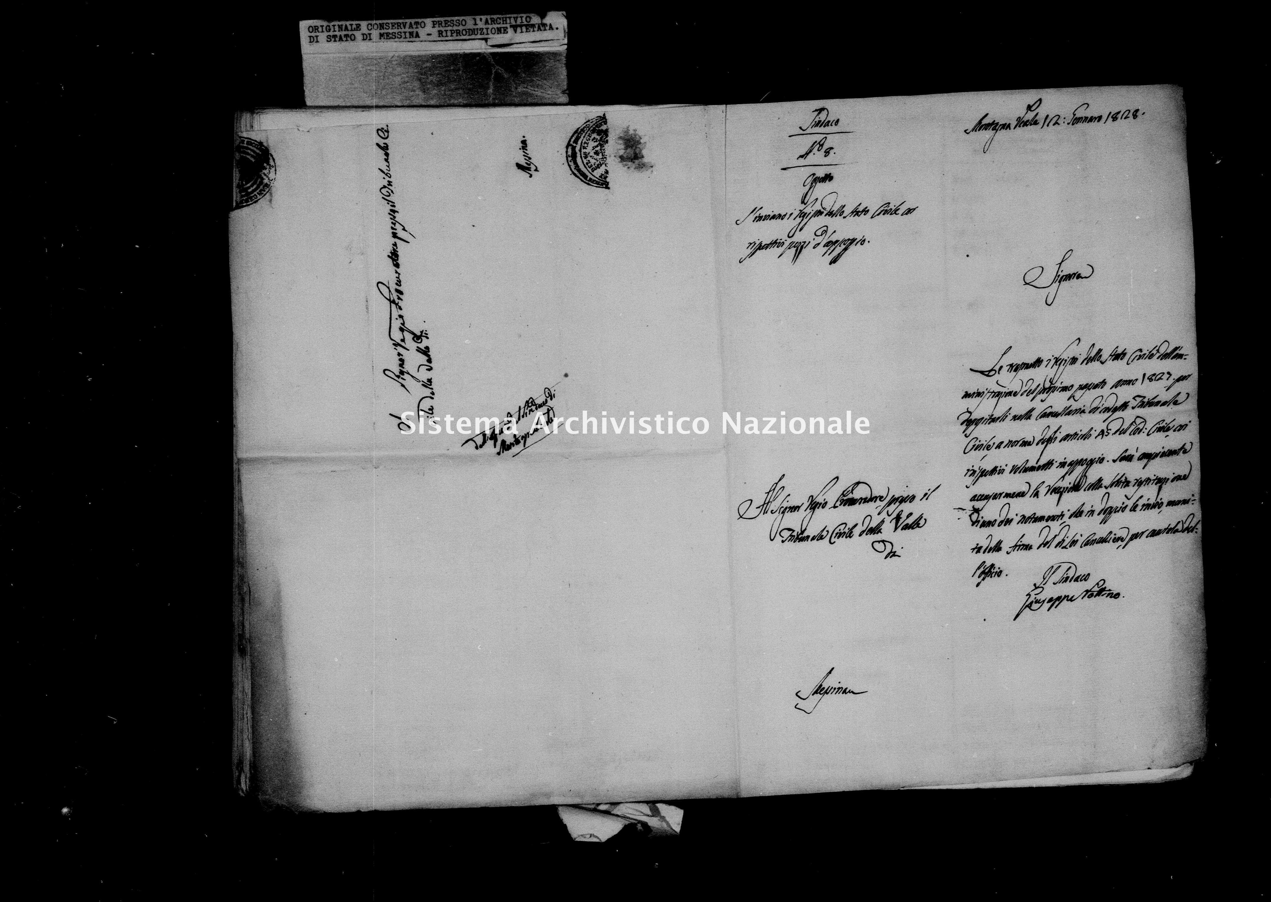 Archivio di stato di Messina - Stato civile della restaurazione - Montagnareale - Inventario - 1827 - 873 -