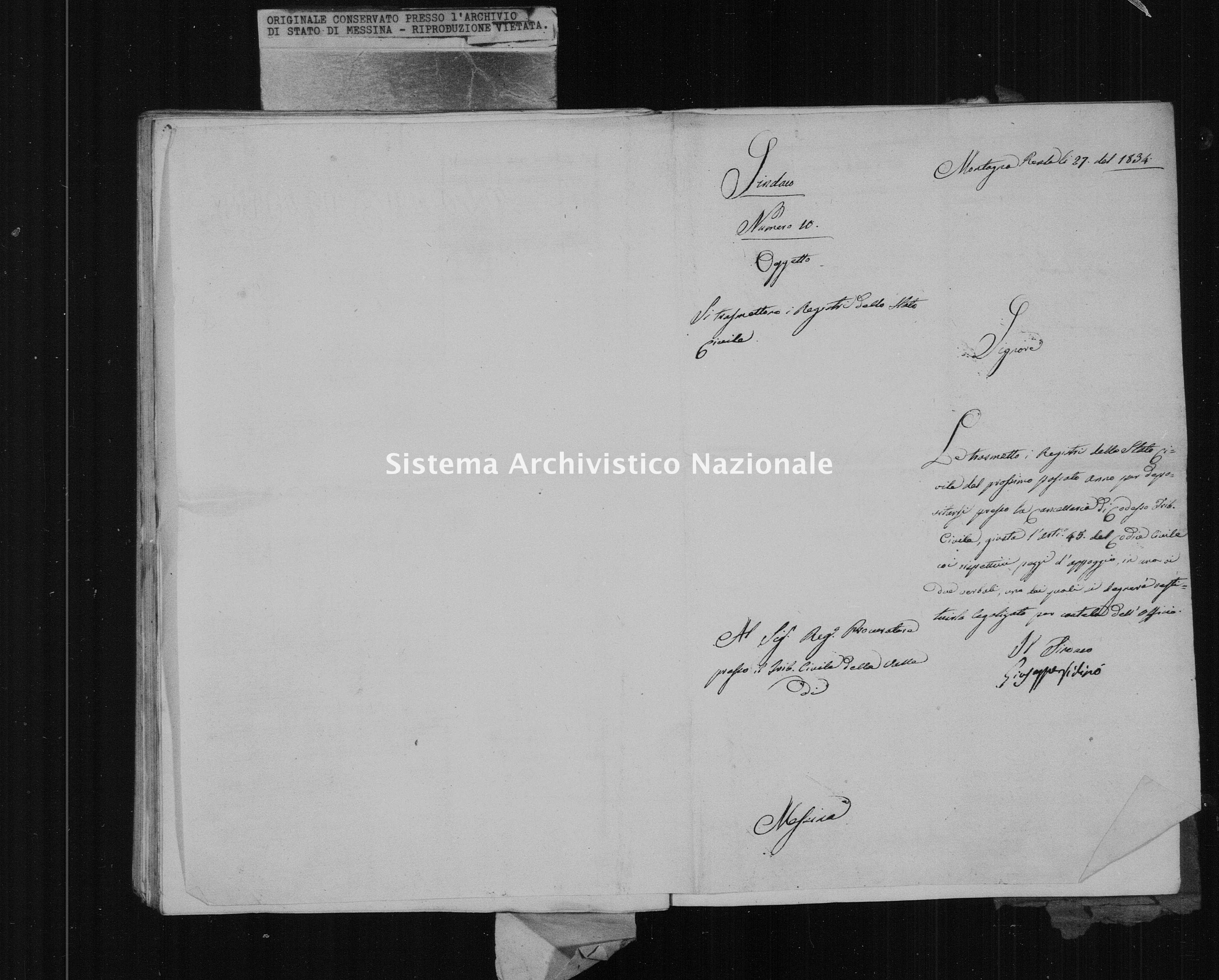 Archivio di stato di Messina - Stato civile della restaurazione - Montagnareale - Inventario - 1833 - 874 -