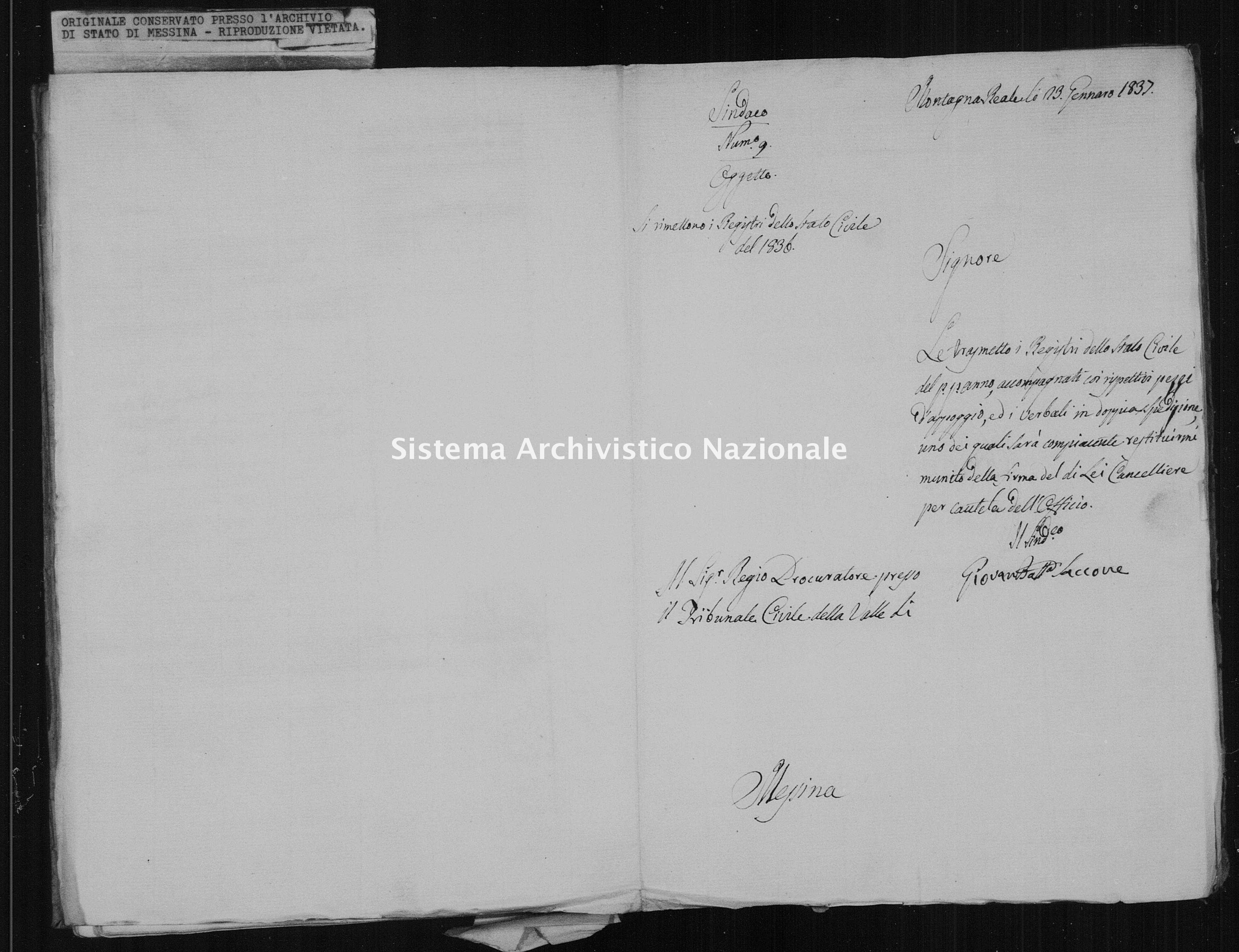 Archivio di stato di Messina - Stato civile della restaurazione - Montagnareale - Inventario - 1836 - 874 -