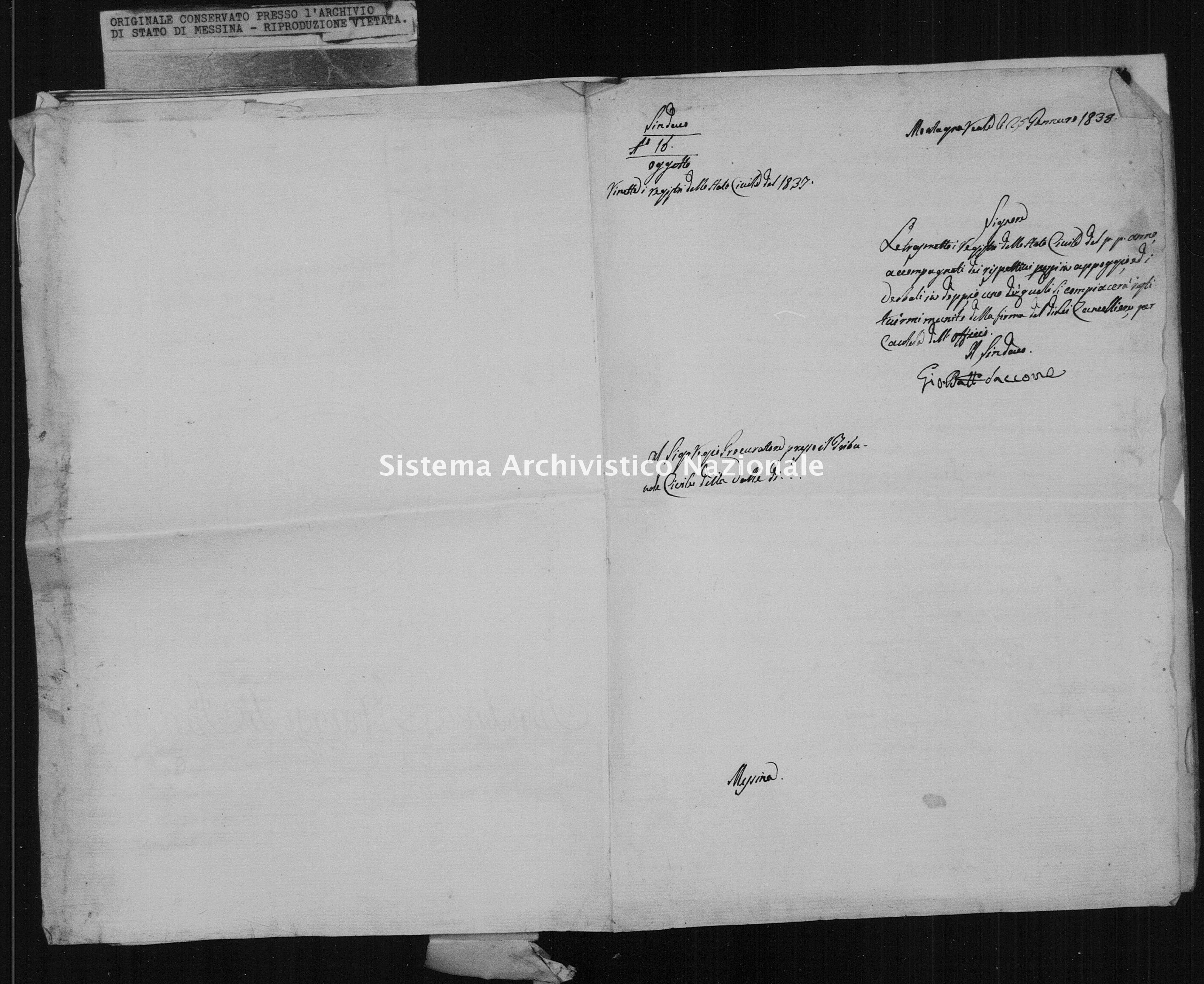 Archivio di stato di Messina - Stato civile della restaurazione - Montagnareale - Inventario - 1837 - 875 -
