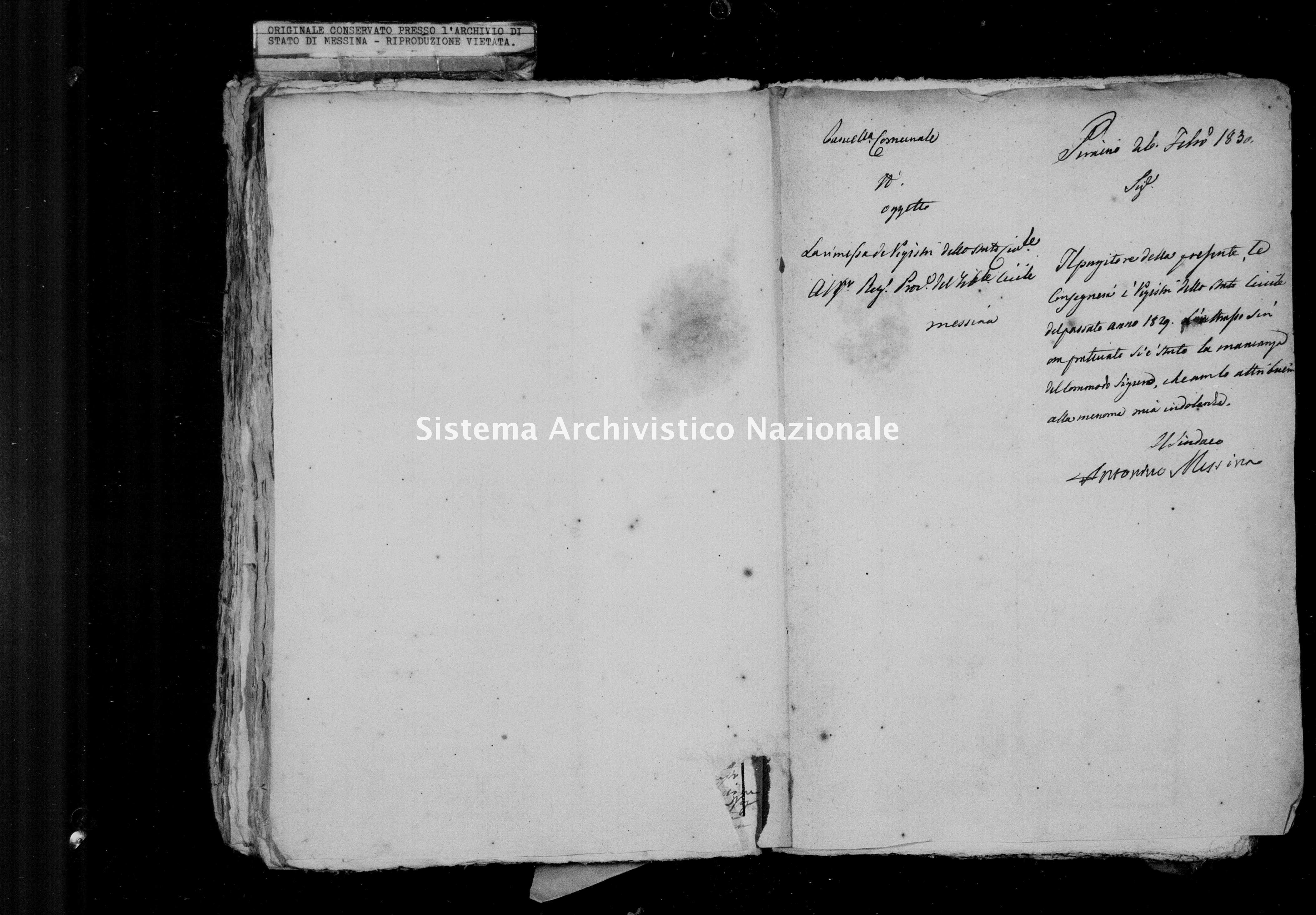 Archivio di stato di Messina - Stato civile della restaurazione - Piraino - Inventario - 1829 - 1051 -