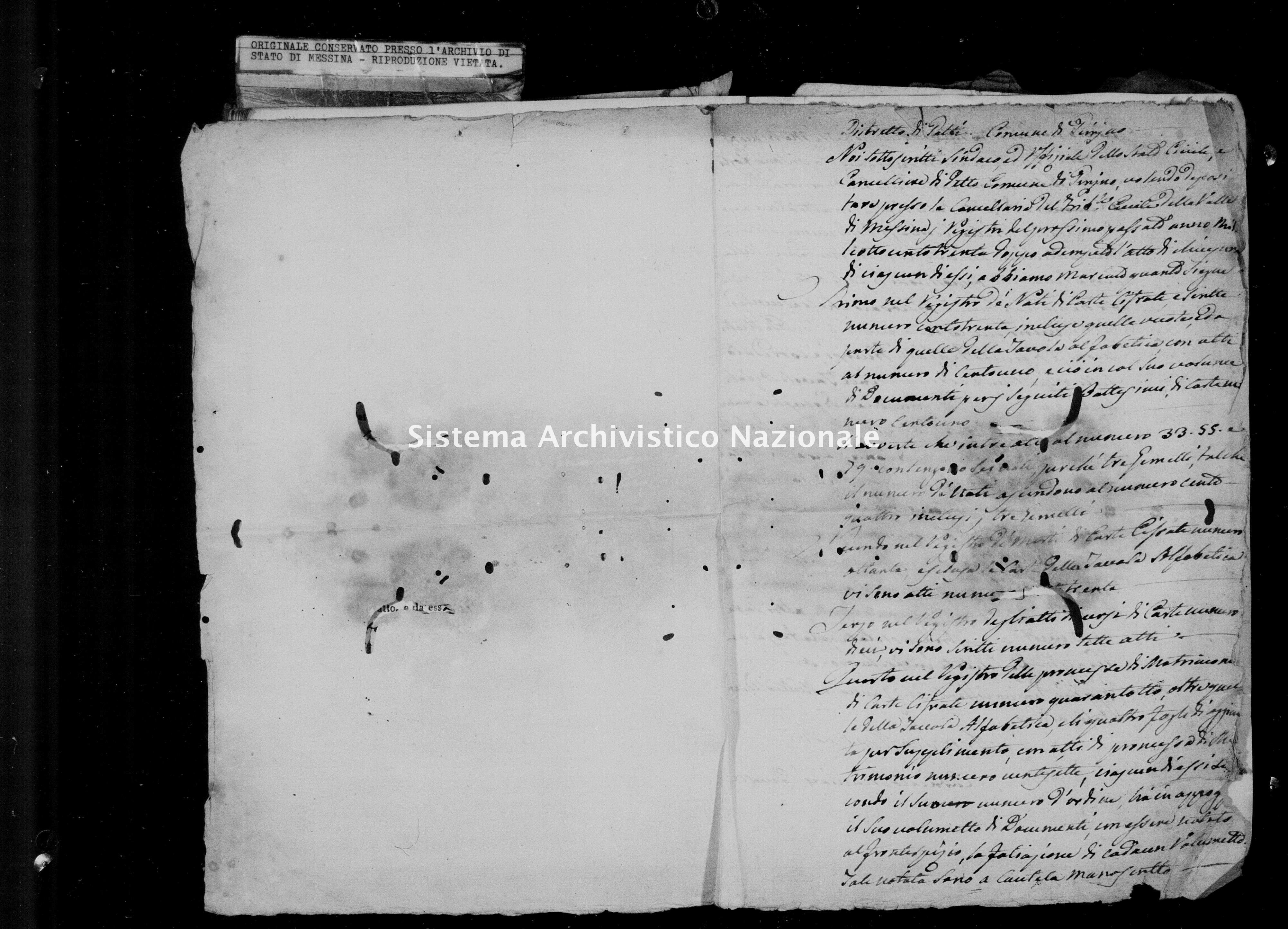 Archivio di stato di Messina - Stato civile della restaurazione - Piraino - Inventario - 1830 - 1051 -