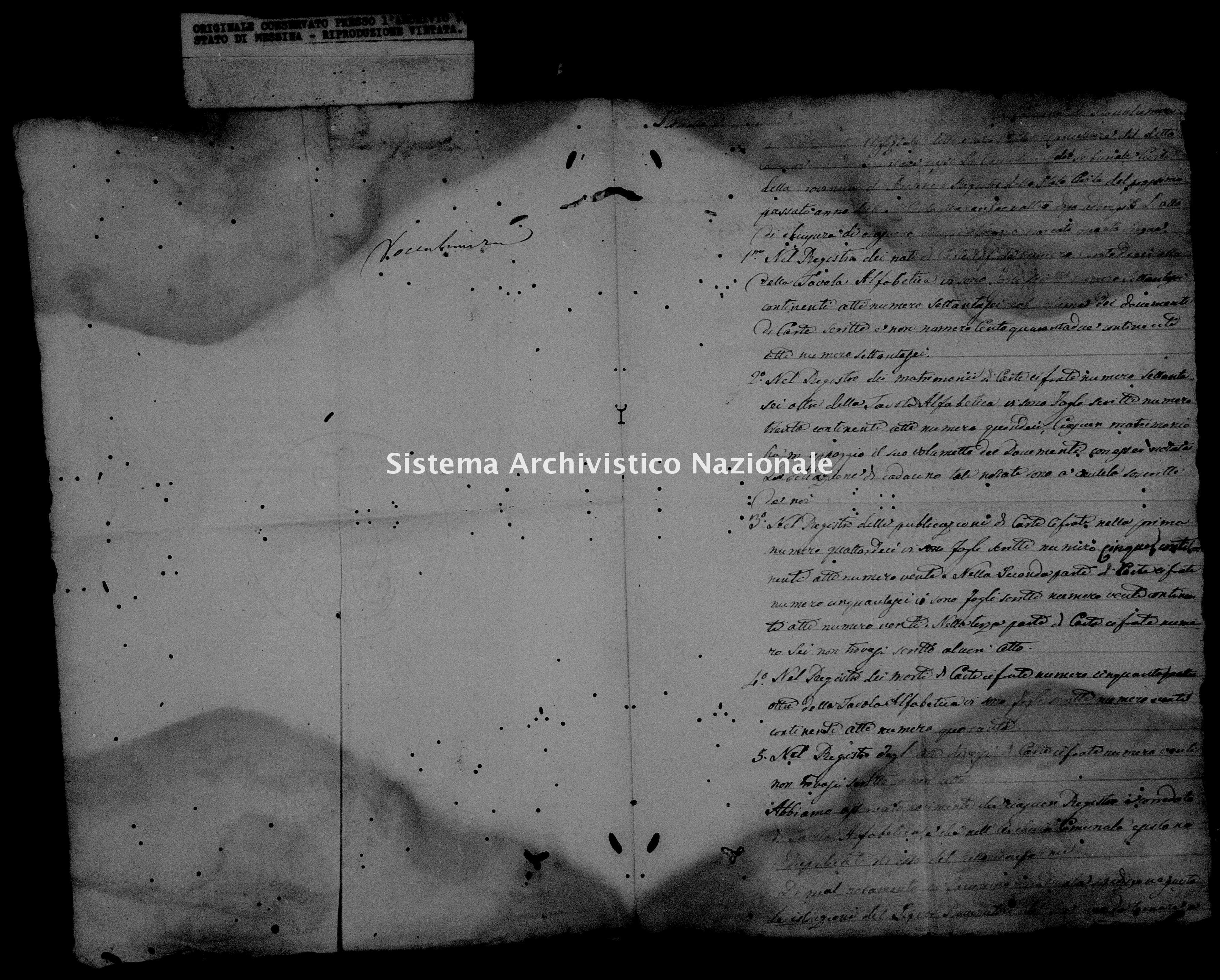 Archivio di stato di Messina - Stato civile della restaurazione - Roccalumera - Inventario - 1844 - 1106 -
