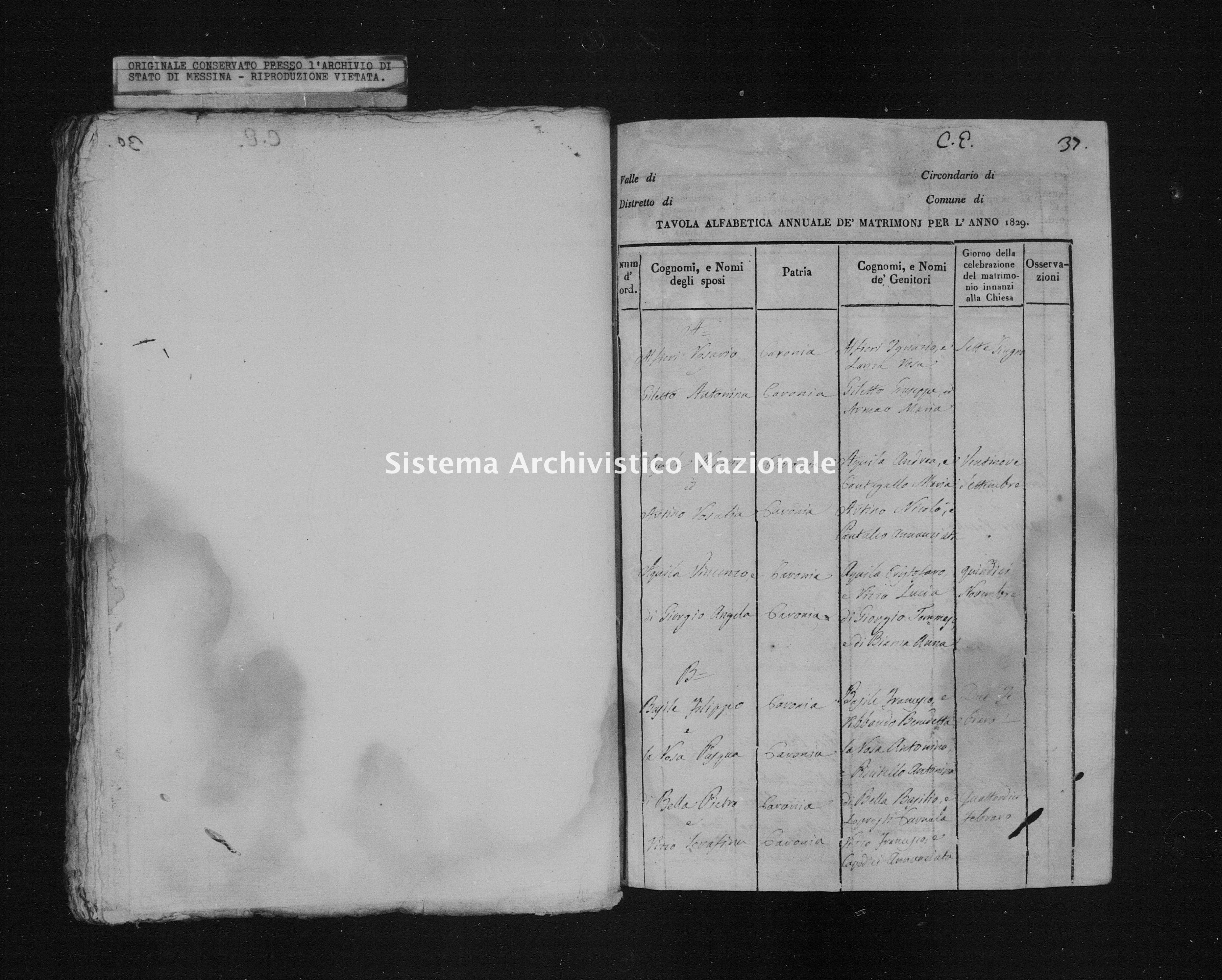 Archivio di stato di Messina - Stato civile italiano - Caronia - Matrimoni, indice - 1829 - 201 -