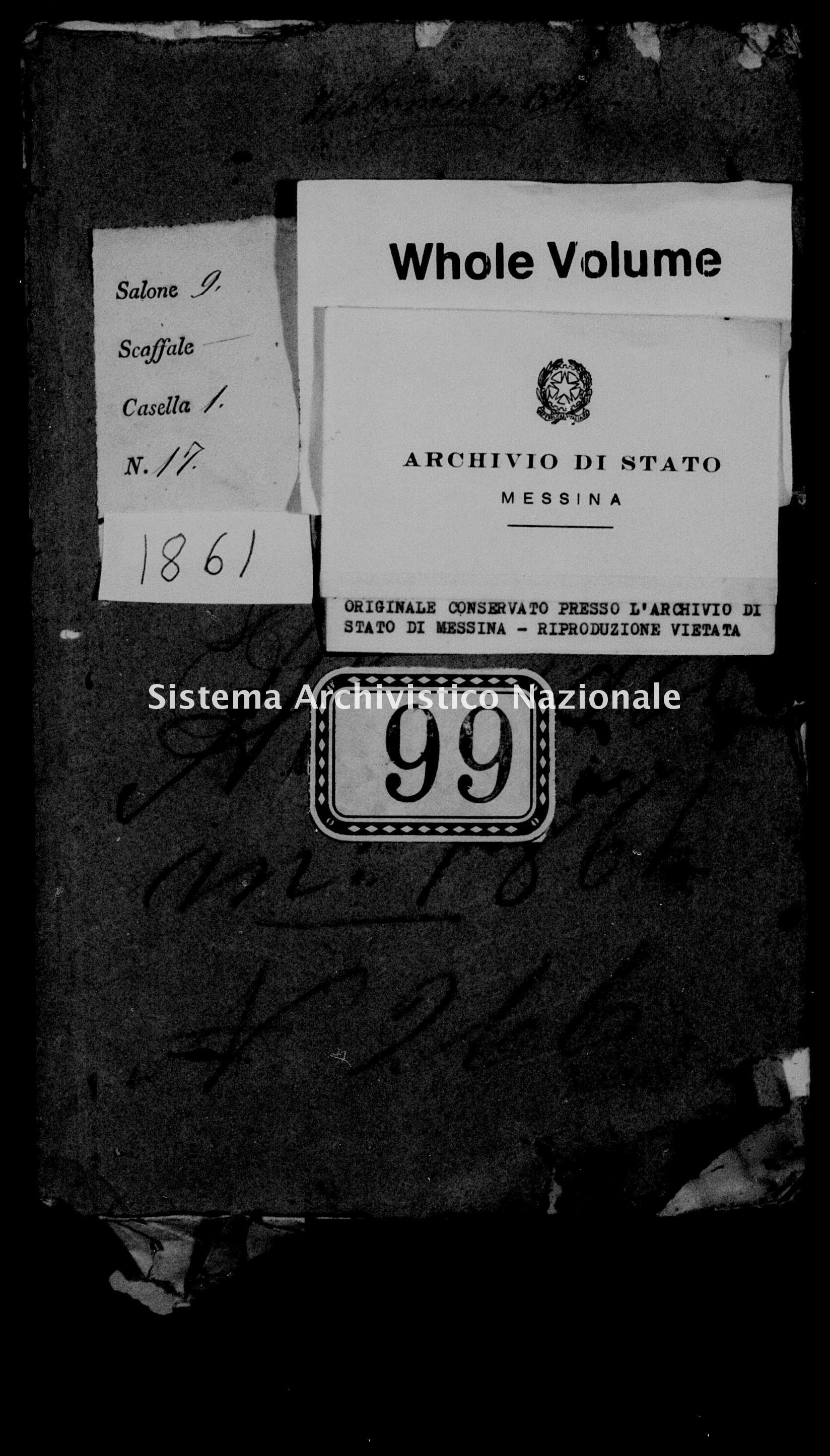 Archivio di stato di Messina - Stato civile italiano - Alcara li Fusi - Matrimoni - 1861 - 99 -