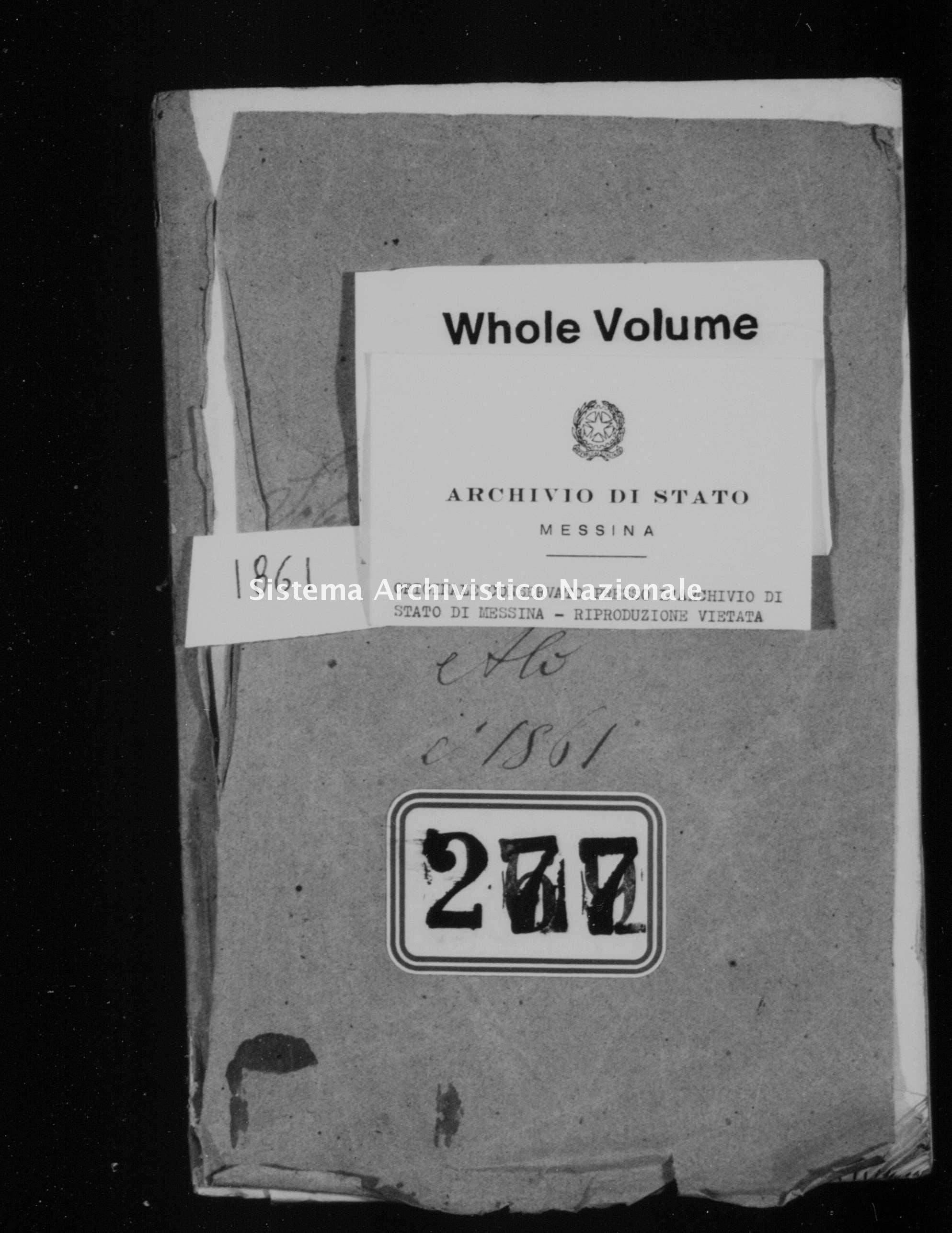 Archivio di stato di Messina - Stato civile italiano - Alì - Matrimoni - 1861 -