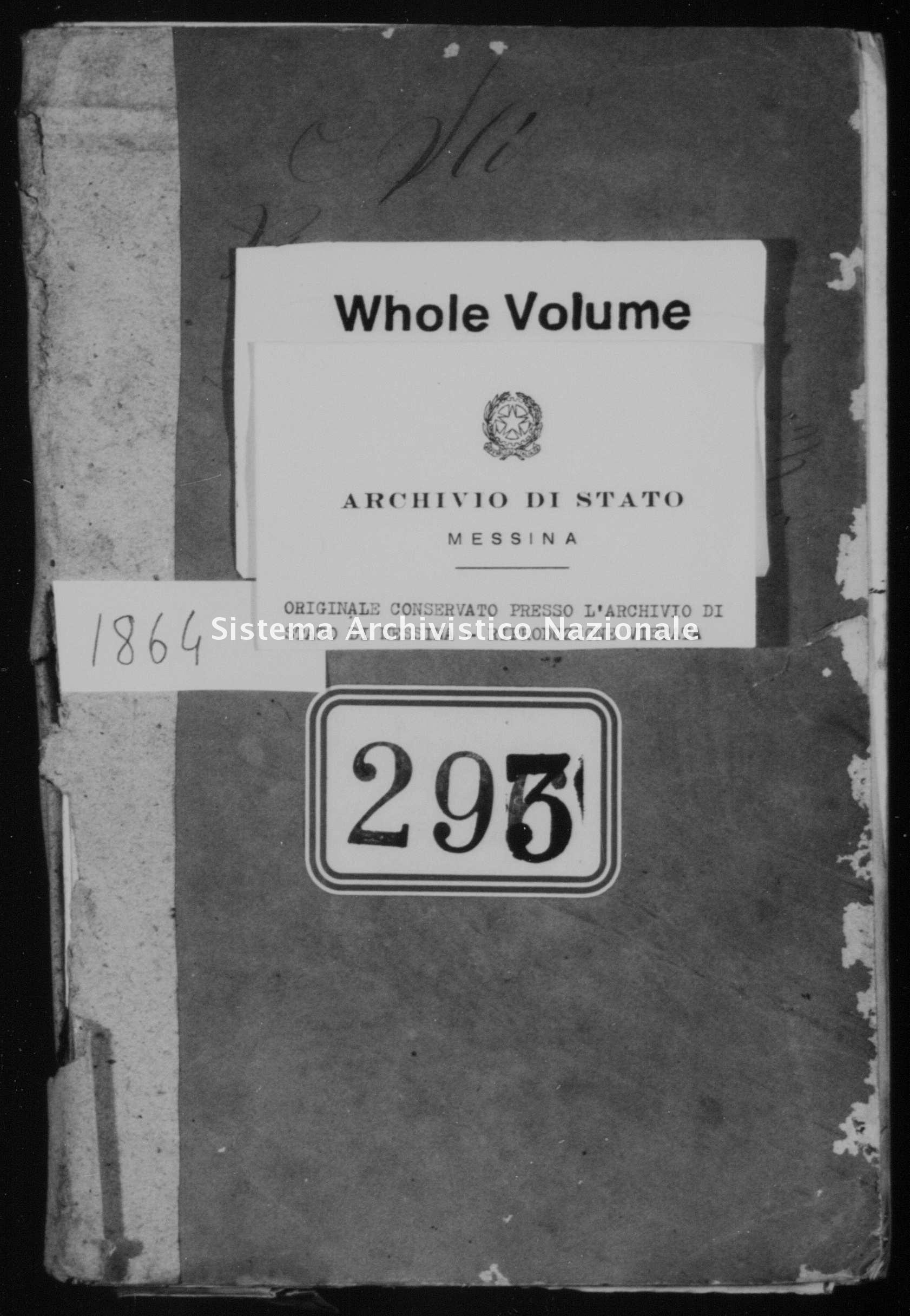 Archivio di stato di Messina - Stato civile italiano - Alì - Matrimoni - 1864 -