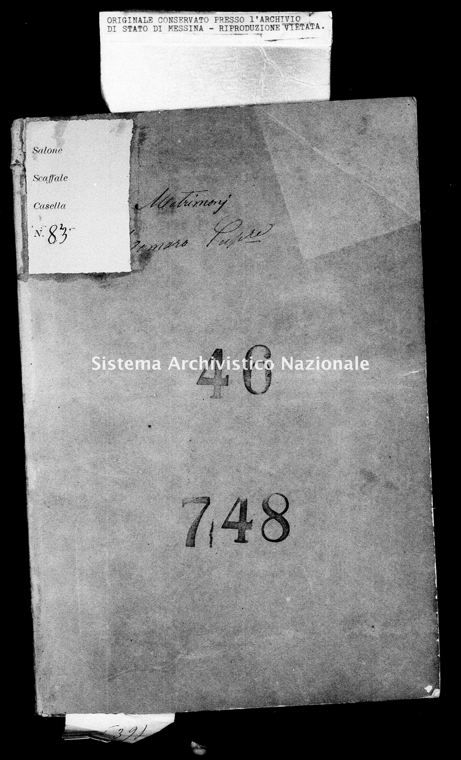 Archivio di stato di Messina - Stato civile italiano - Camaro Superiore - Matrimoni - 1864 - 46 -