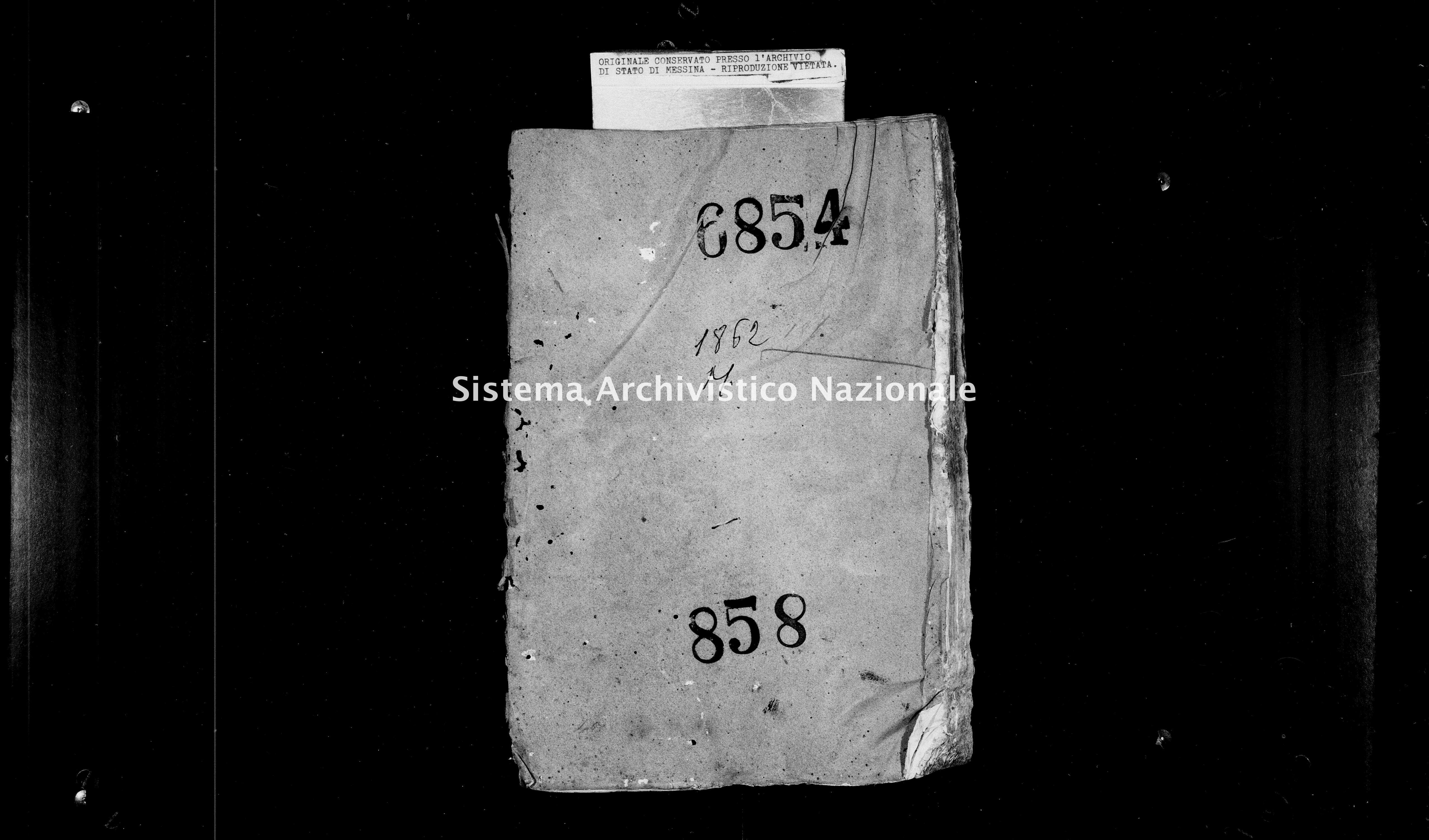Archivio di stato di Messina - Stato civile italiano - Monforte - Matrimoni - 1862 - 858 -
