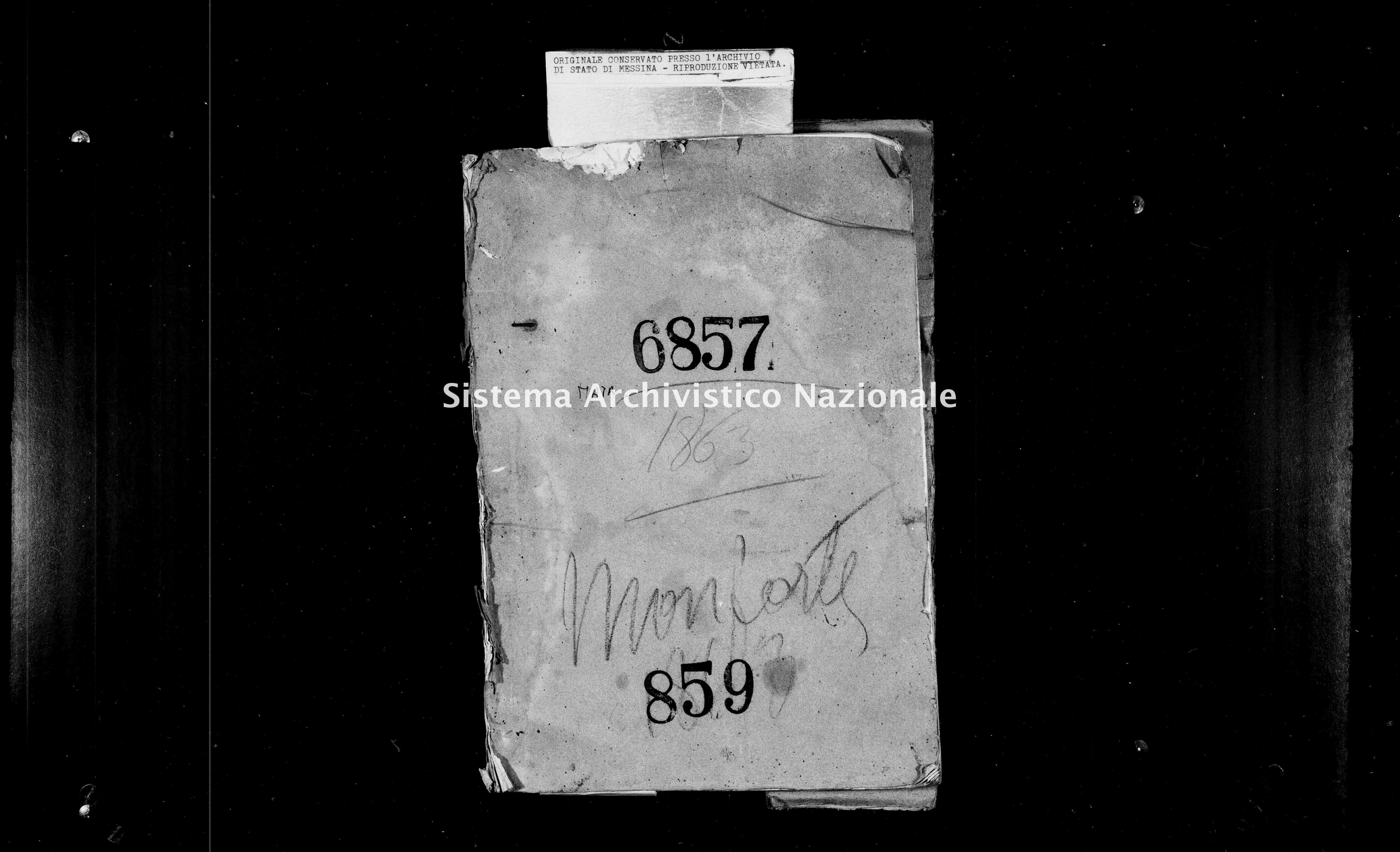 Archivio di stato di Messina - Stato civile italiano - Monforte - Matrimoni - 1863 - 859 -