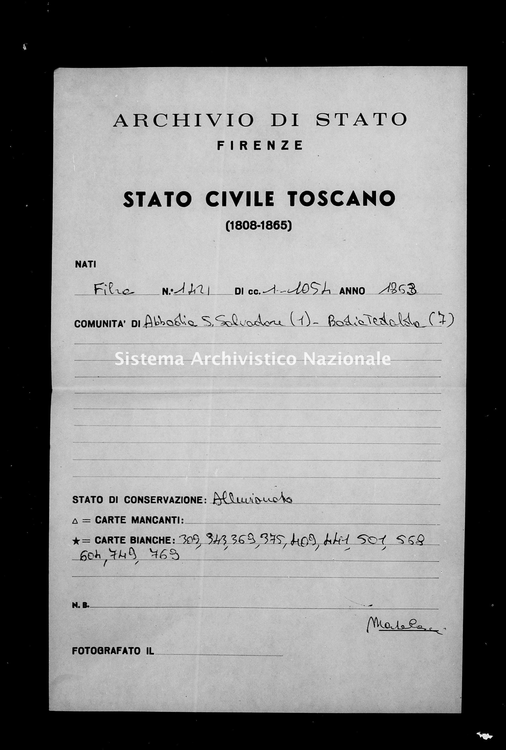 Archivio di stato di Firenze - Stato civile del circondario di Firenze (1866-1965) - Abbadia San Salvatore - Nati - 1863 - 1421 -