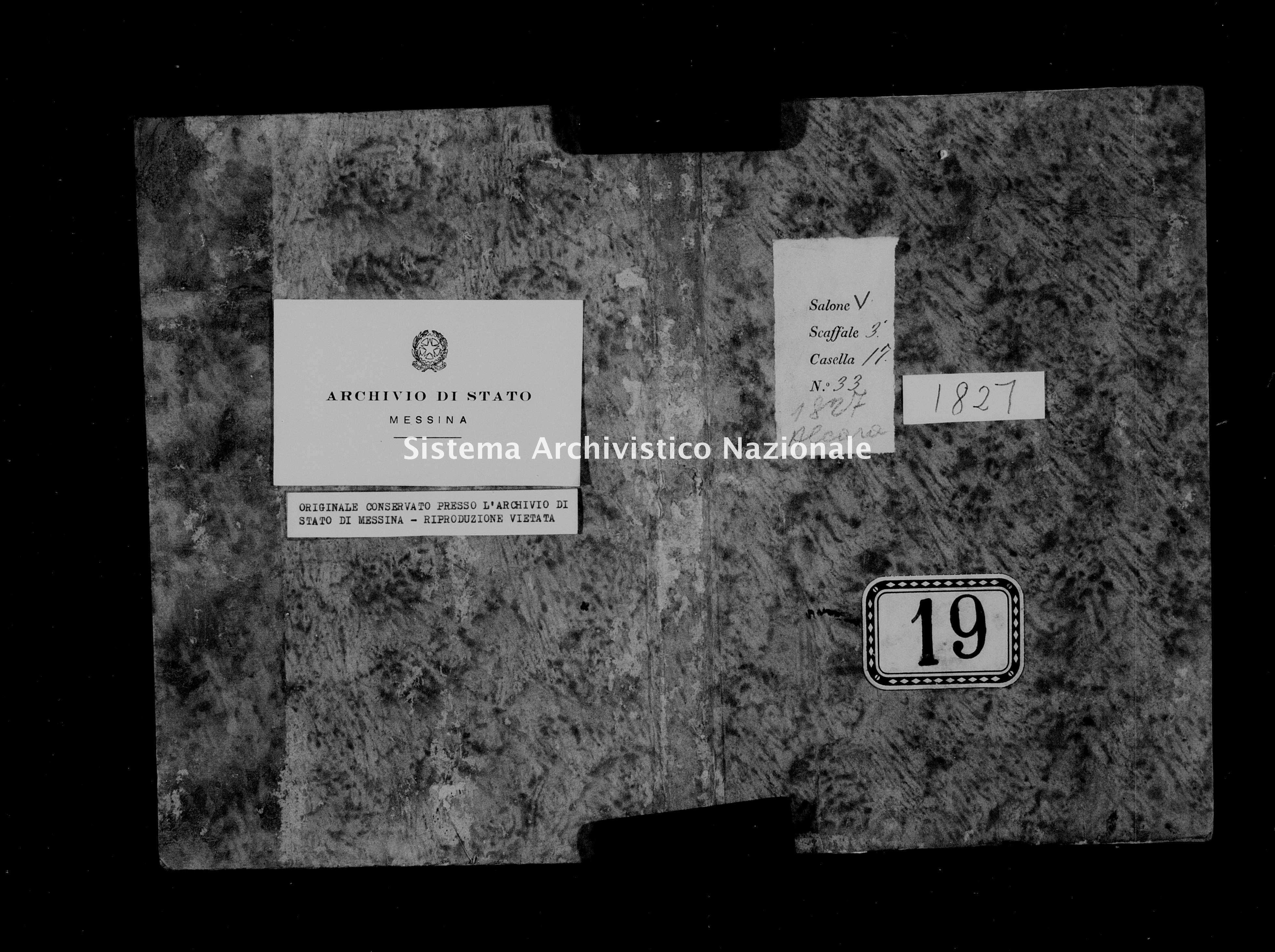 Archivio di stato di Messina - Stato civile della restaurazione - Alcara li Fusi - Nati - 1827 - 19 -