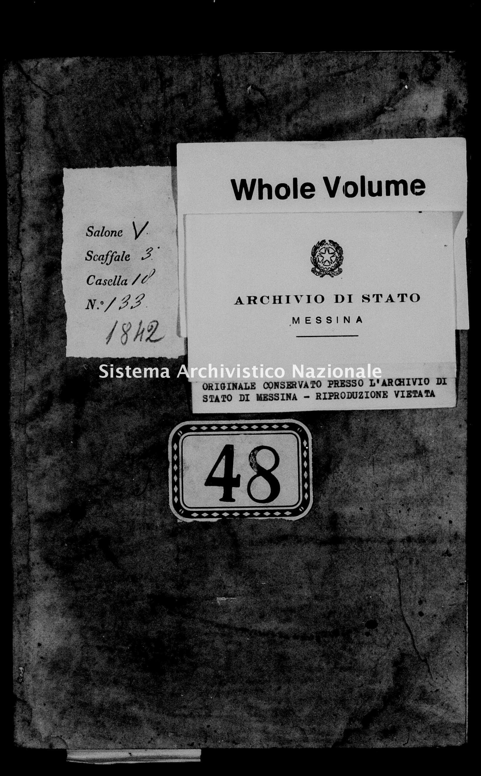Archivio di stato di Messina - Stato civile della restaurazione - Alcara li Fusi - Morti - 1842 -