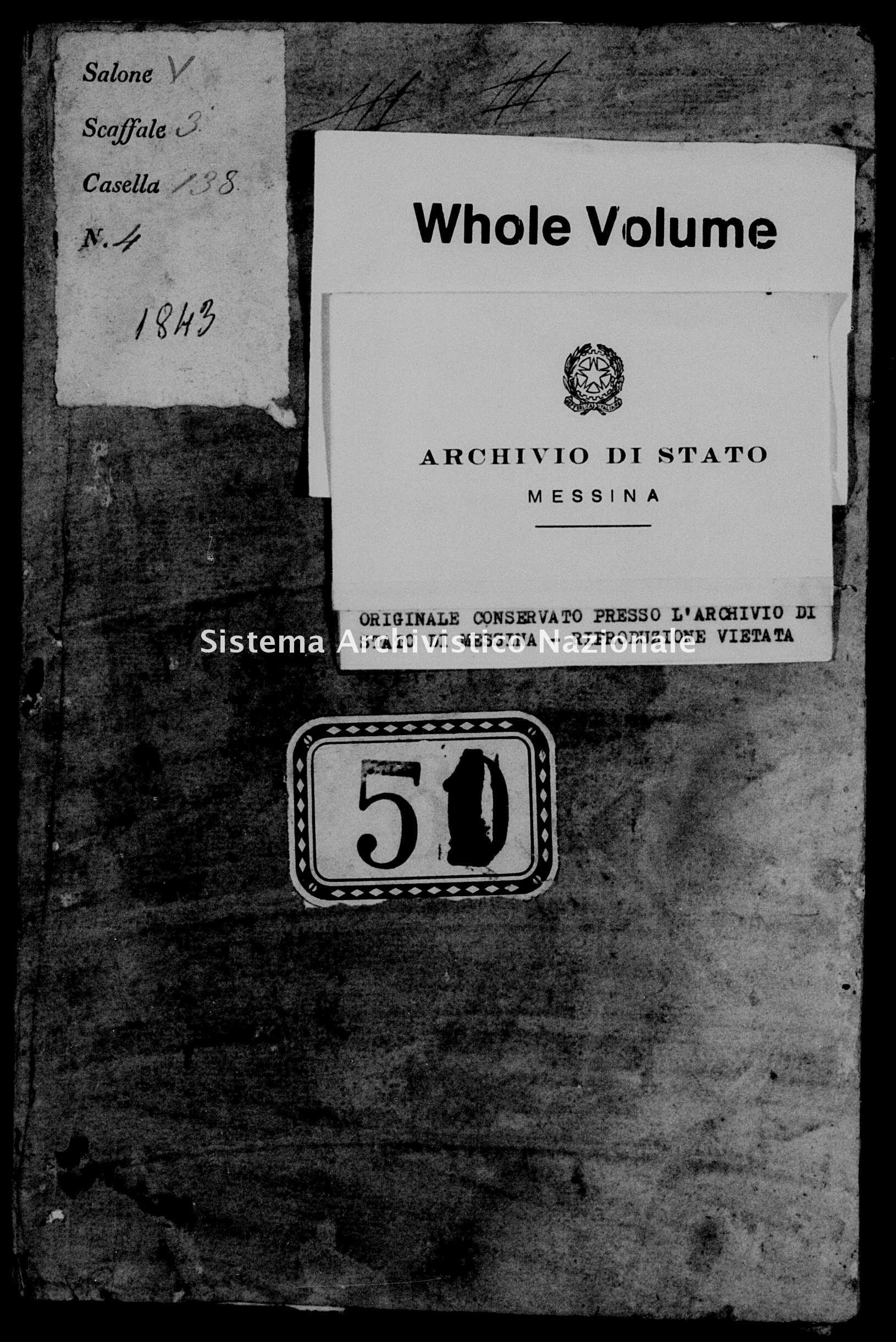 Archivio di stato di Messina - Stato civile della restaurazione - Alcara li Fusi - Morti - 1843 -