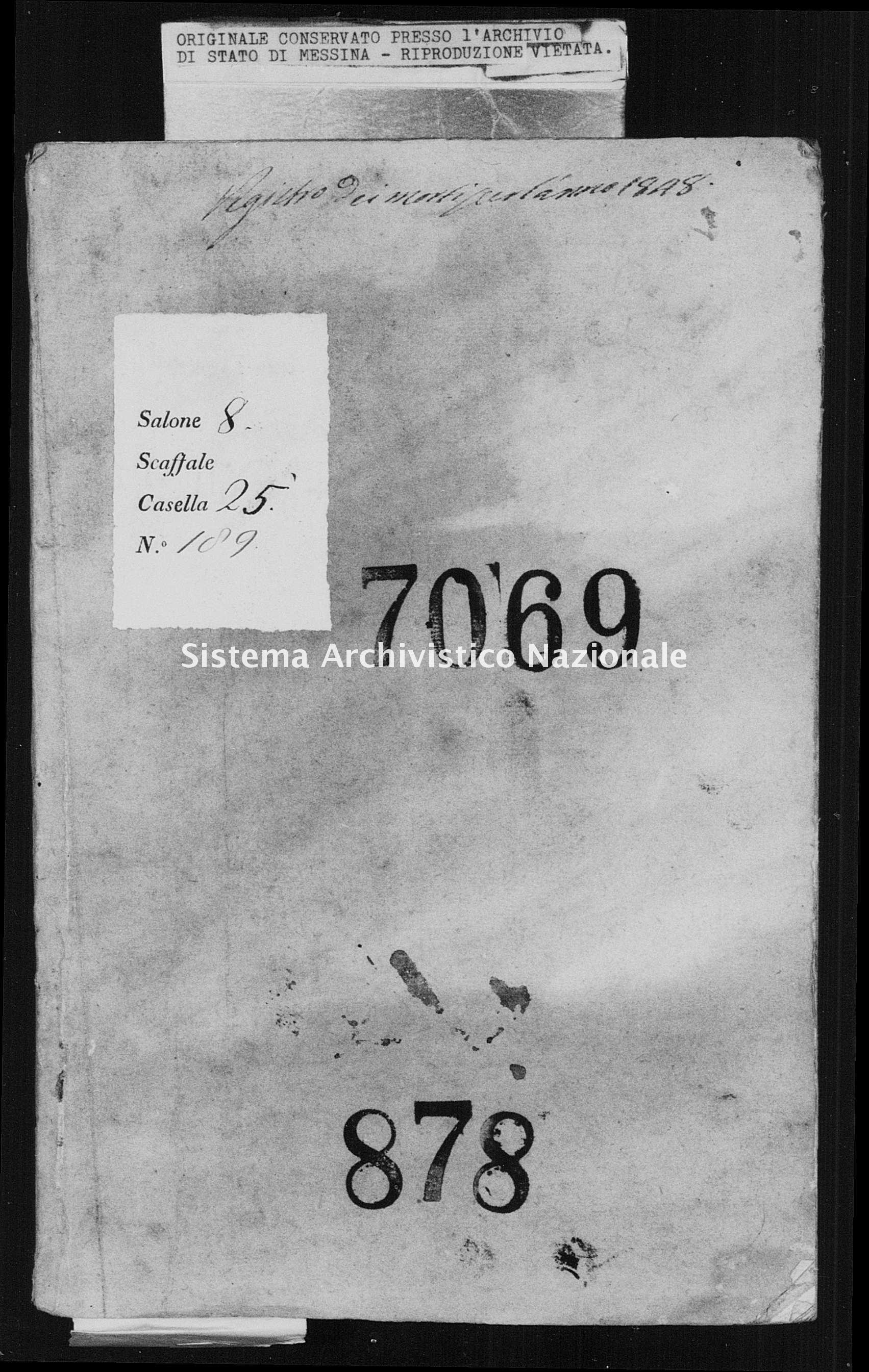 Archivio di stato di Messina - Stato civile della restaurazione - Montagnareale - Morti - 1848 - 878 -