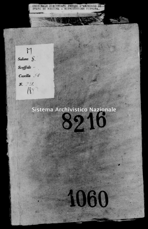 Archivio di stato di Messina - Stato civile della restaurazione - Piraino - Morti - 1852 - 1060 -