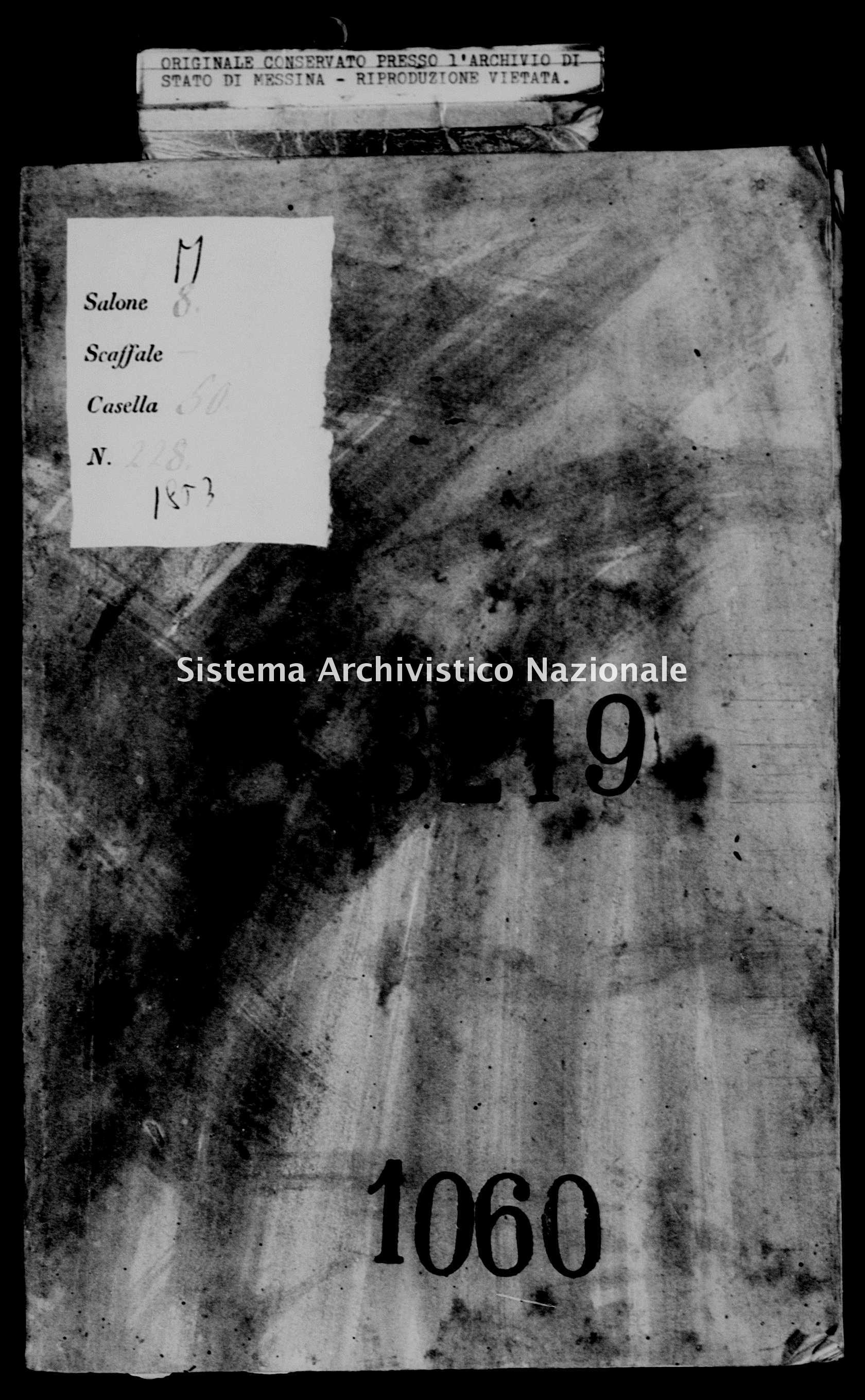 Archivio di stato di Messina - Stato civile della restaurazione - Piraino - Morti - 03/01/1853-13/11/1853 - 1060 -