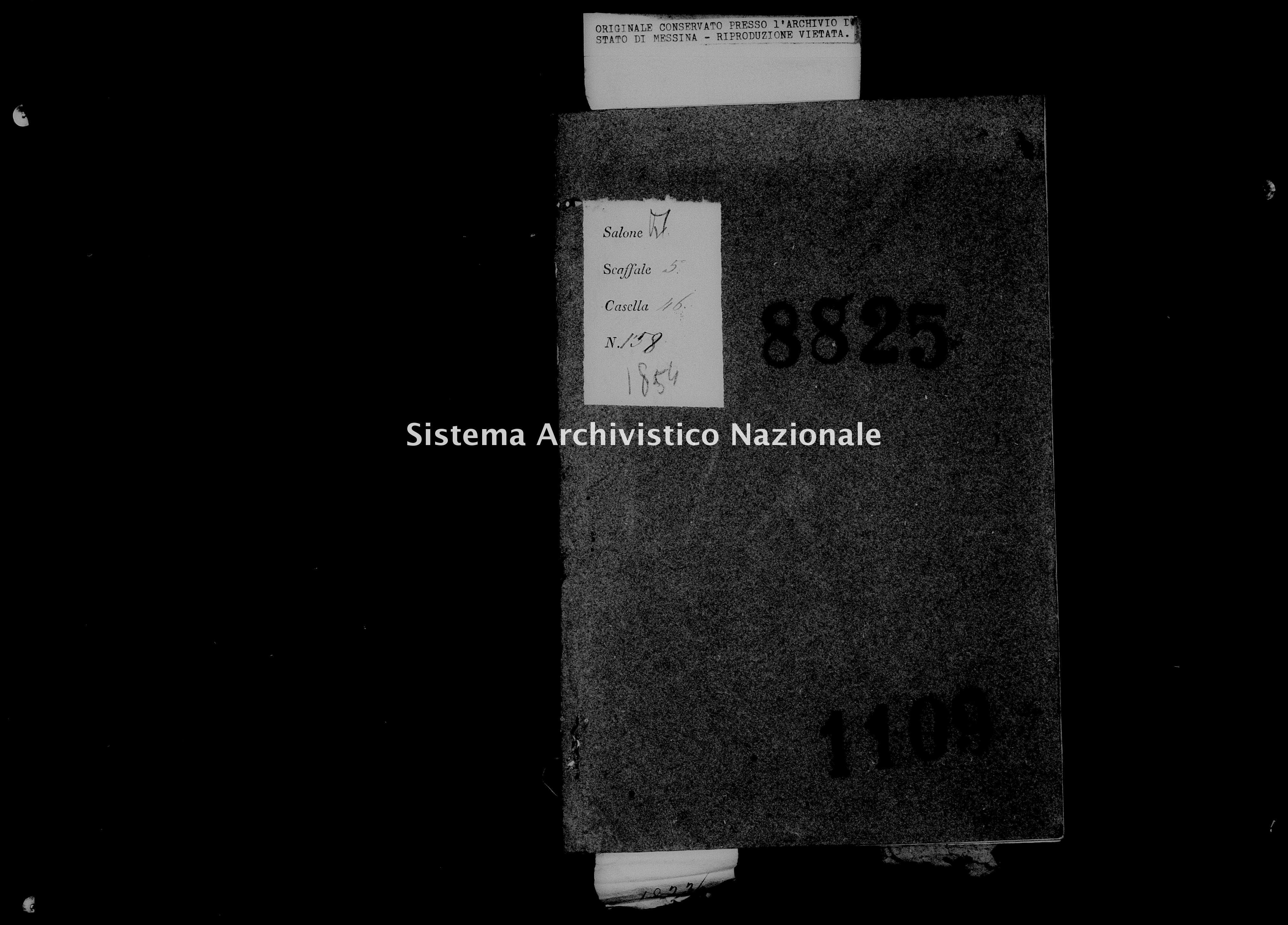 Archivio di stato di Messina - Stato civile della restaurazione - Roccalumera - Morti - 01/01/1854-14/09/1854 - 1109 -